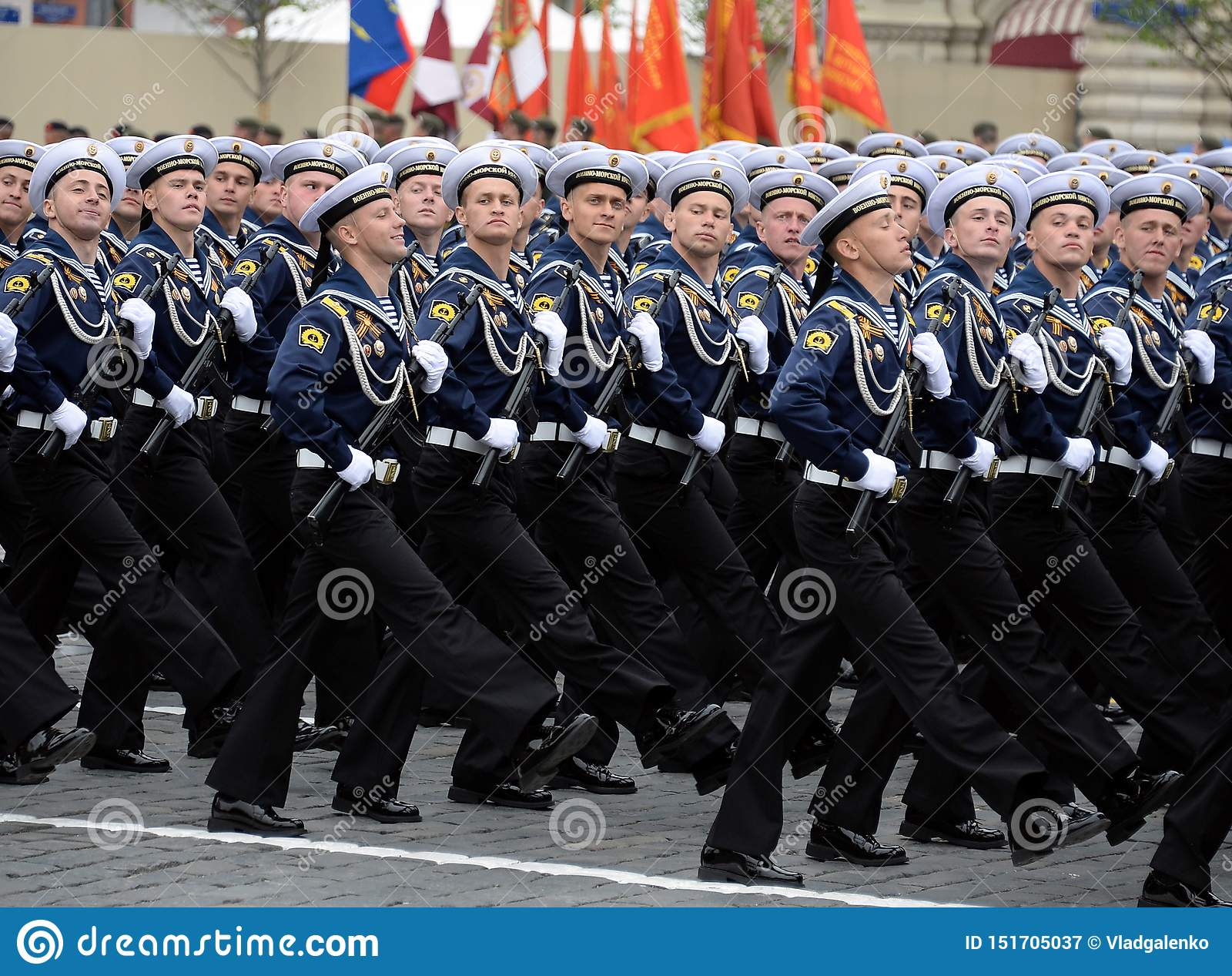 Cadets of the Naval Polytechnic Institute during the parade on red square in honor of victory Day
