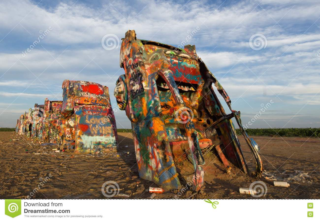 Cadillac Ranch Editorial Stock Image Image Of Sculpture 76843234