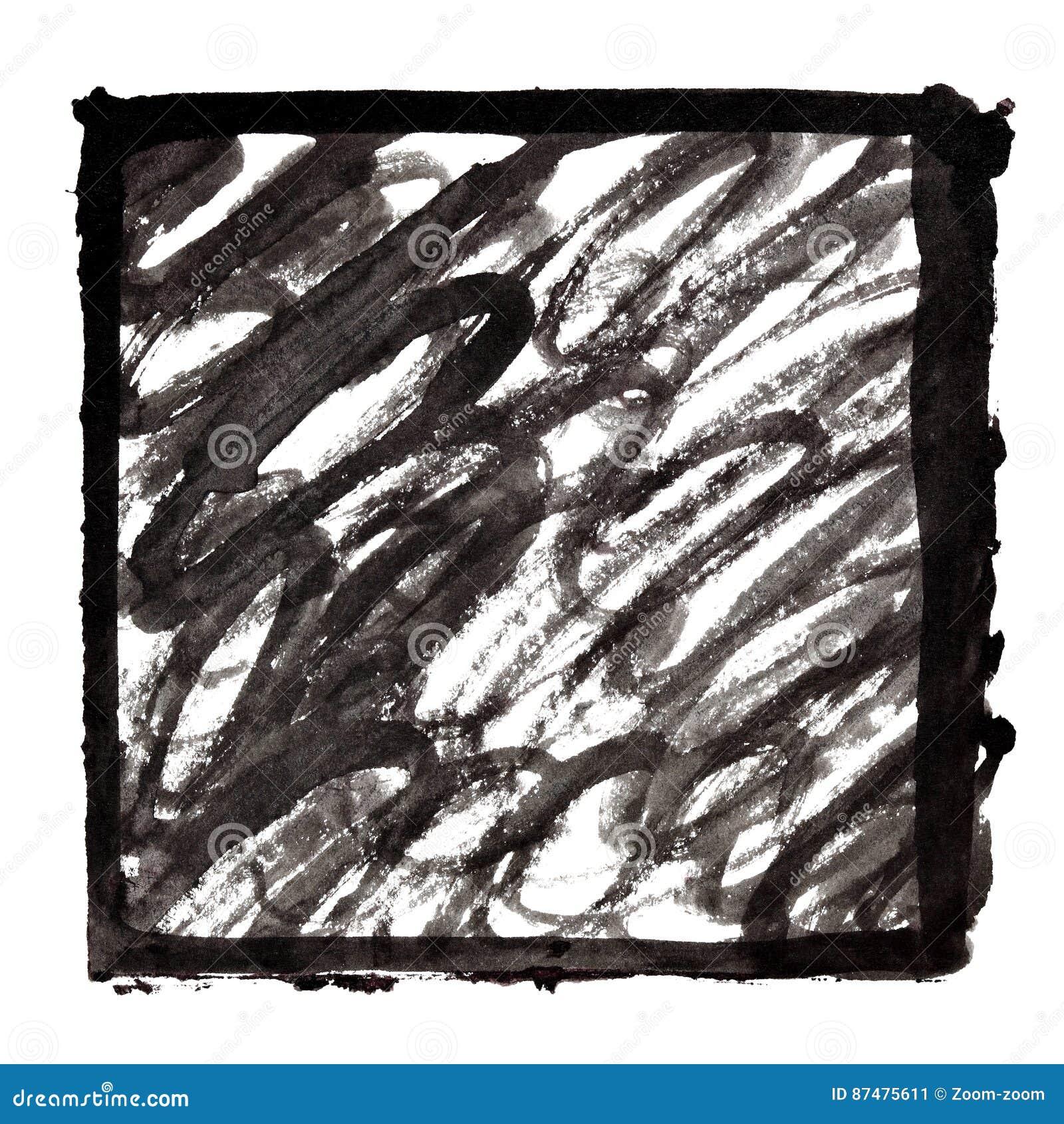 Cadre à l encre noire avec des courses de griffonnage