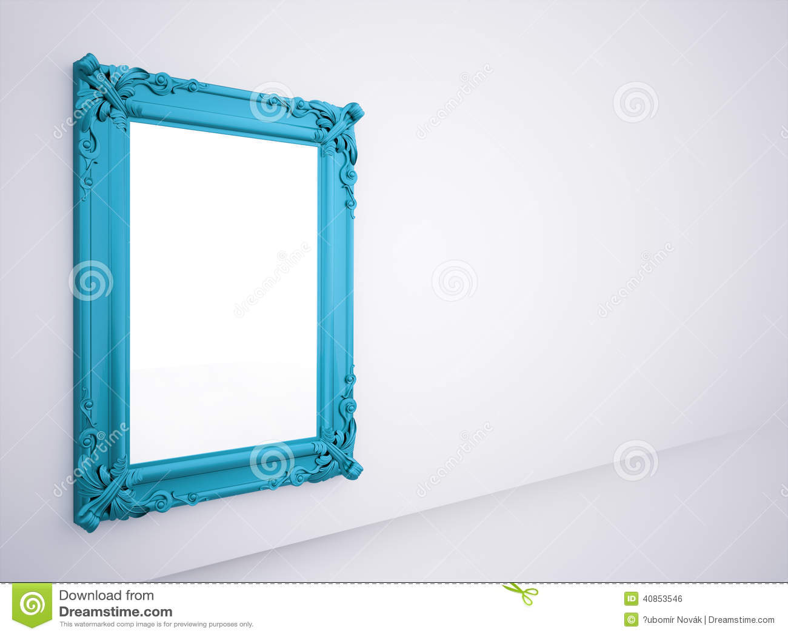 Cadre bleu de miroir rendu illustration stock for Miroir cadre
