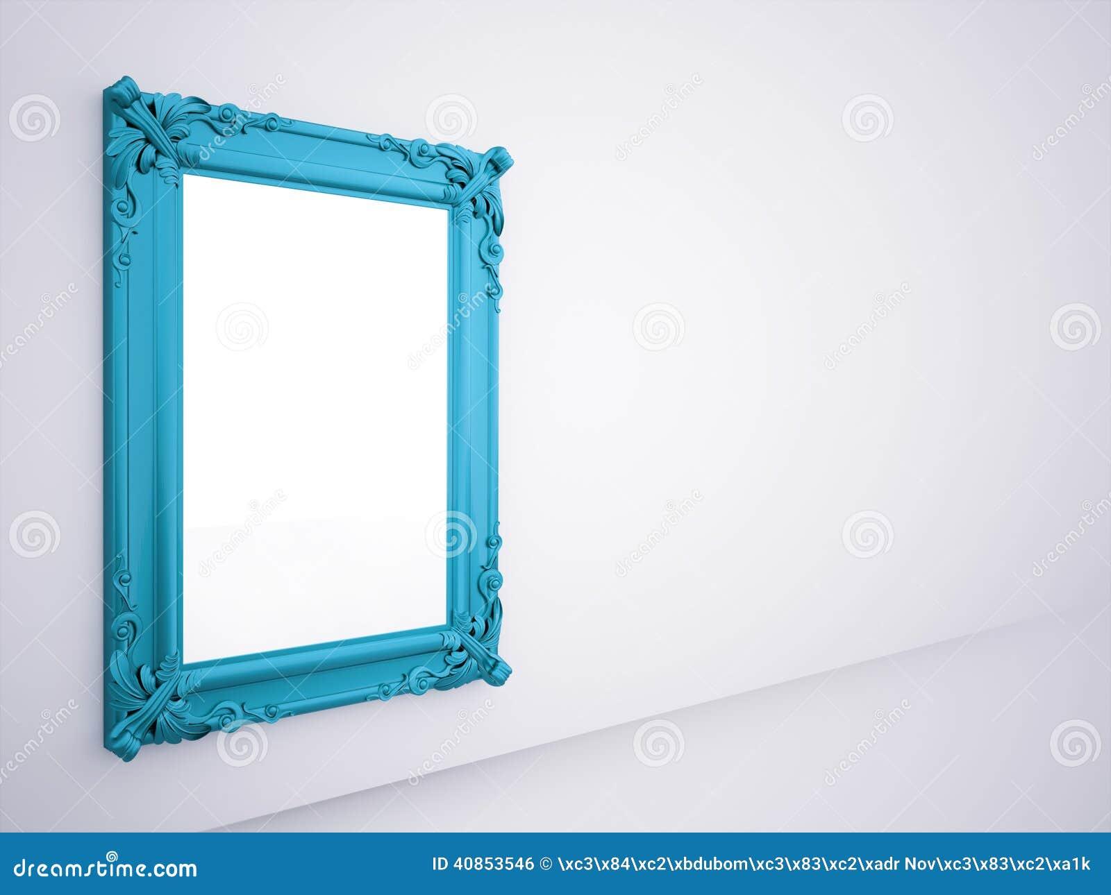 Cadre bleu de miroir rendu illustration stock image for Miroir wallpaper
