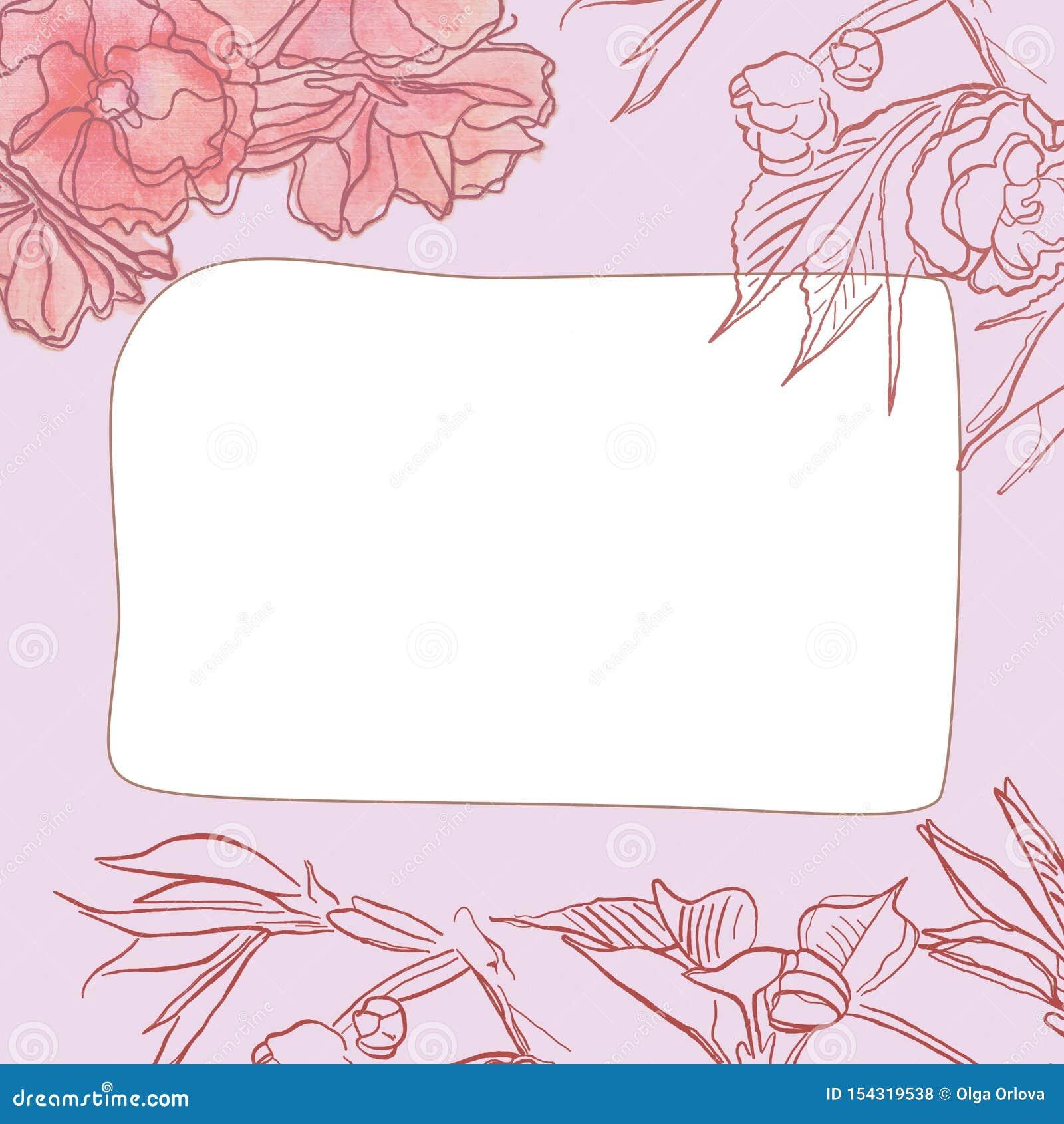 Cadre carré avec le modèle floral de beau cru sensible