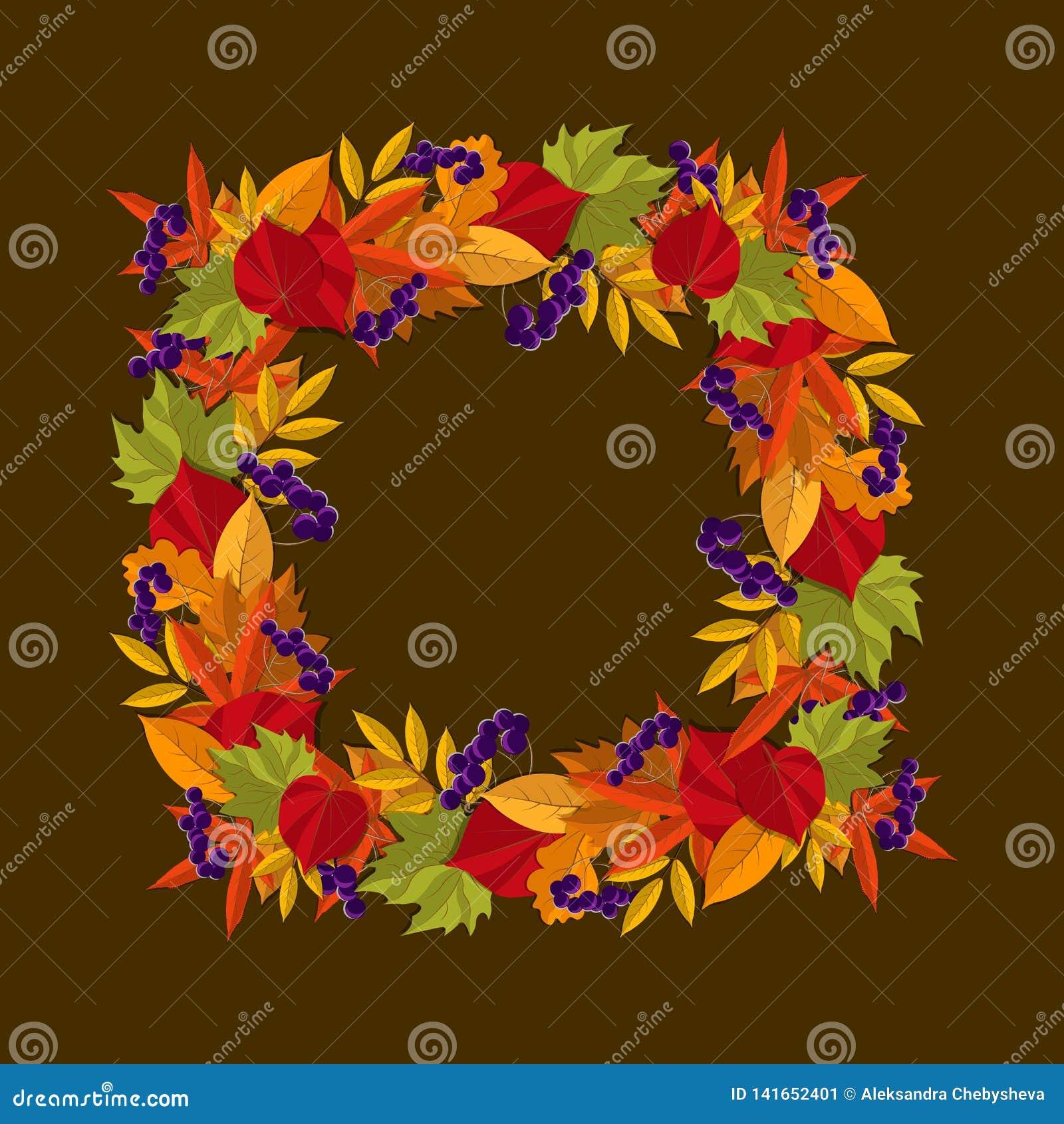 Cadre carré des feuilles d automne guirlande avec des feuilles d automne, Illustration de vecteur
