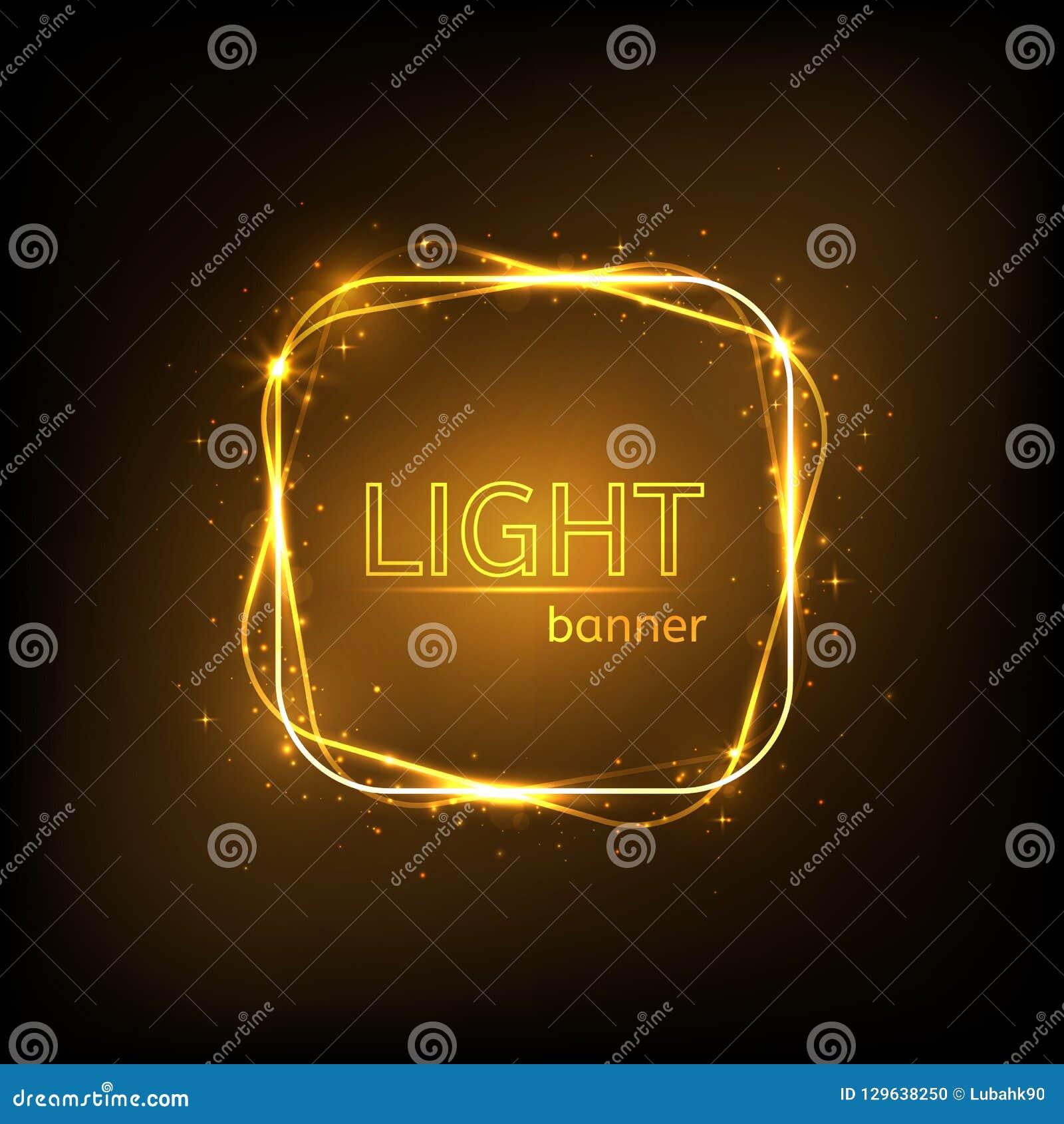 Cadre carré léger La bannière de luxe d or a isolé Cadre rougeoyant avec des étincelles et des étoiles de scintillement Briller d