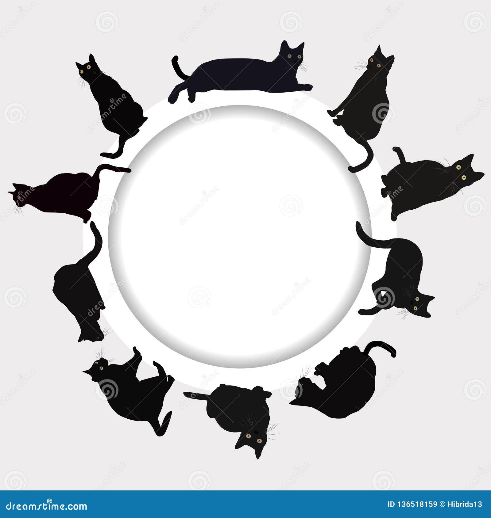 Cadre circulaire avec les chats noirs