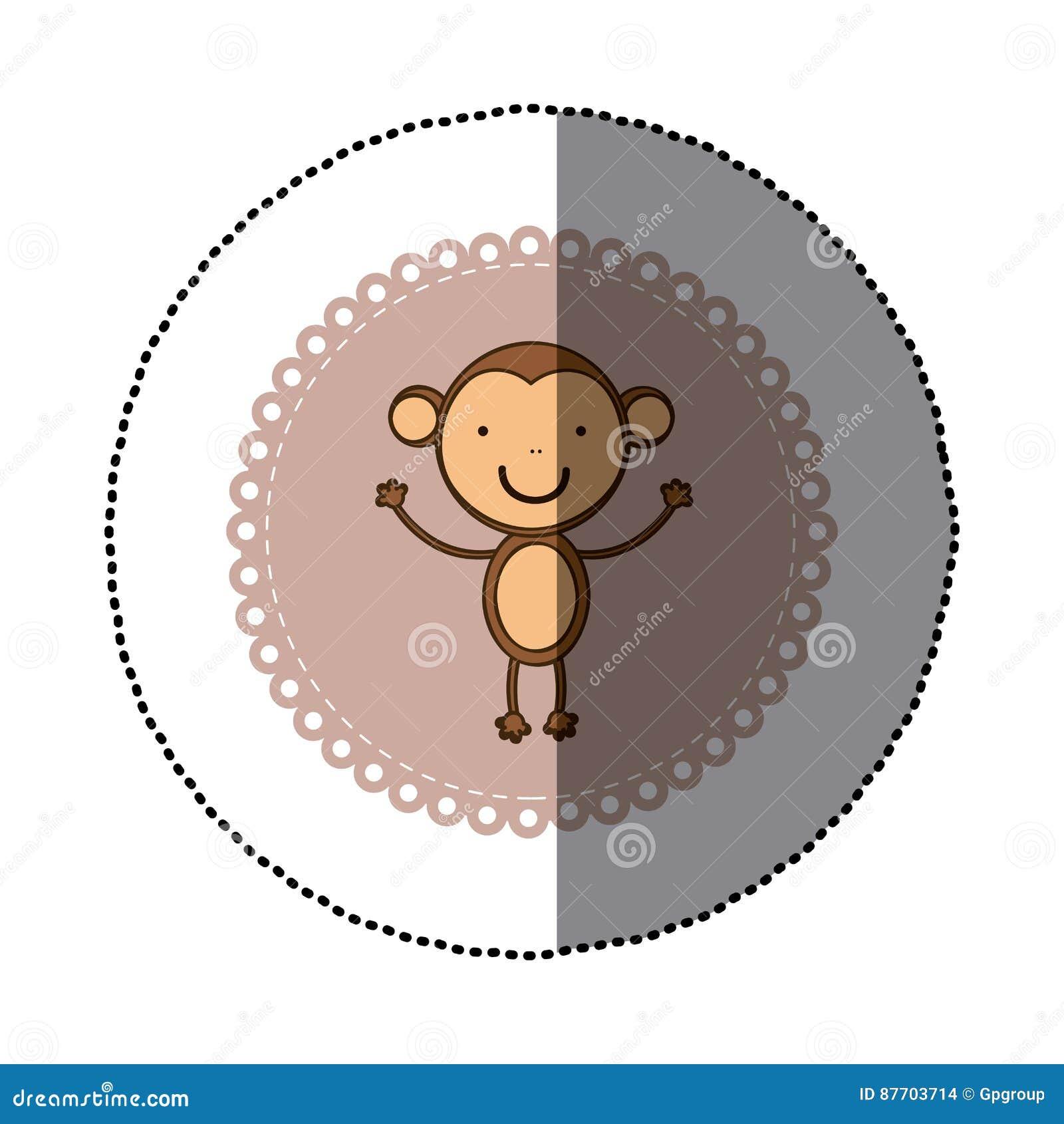 Cadre décoratif coloré d autocollant avec l animal mignon de singe