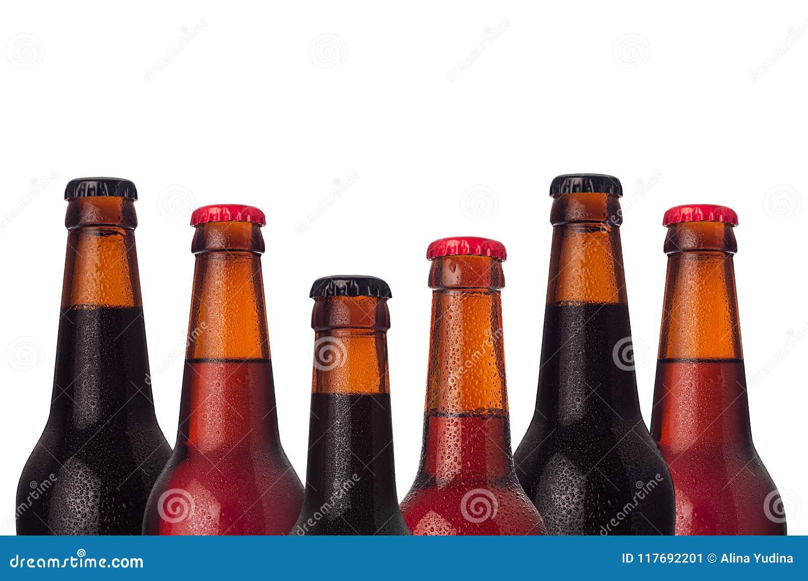 Cadre décoratif des bouteilles à bières de tête d ensemble avec le portier, la bière de bière anglais et blonde et les baisses de