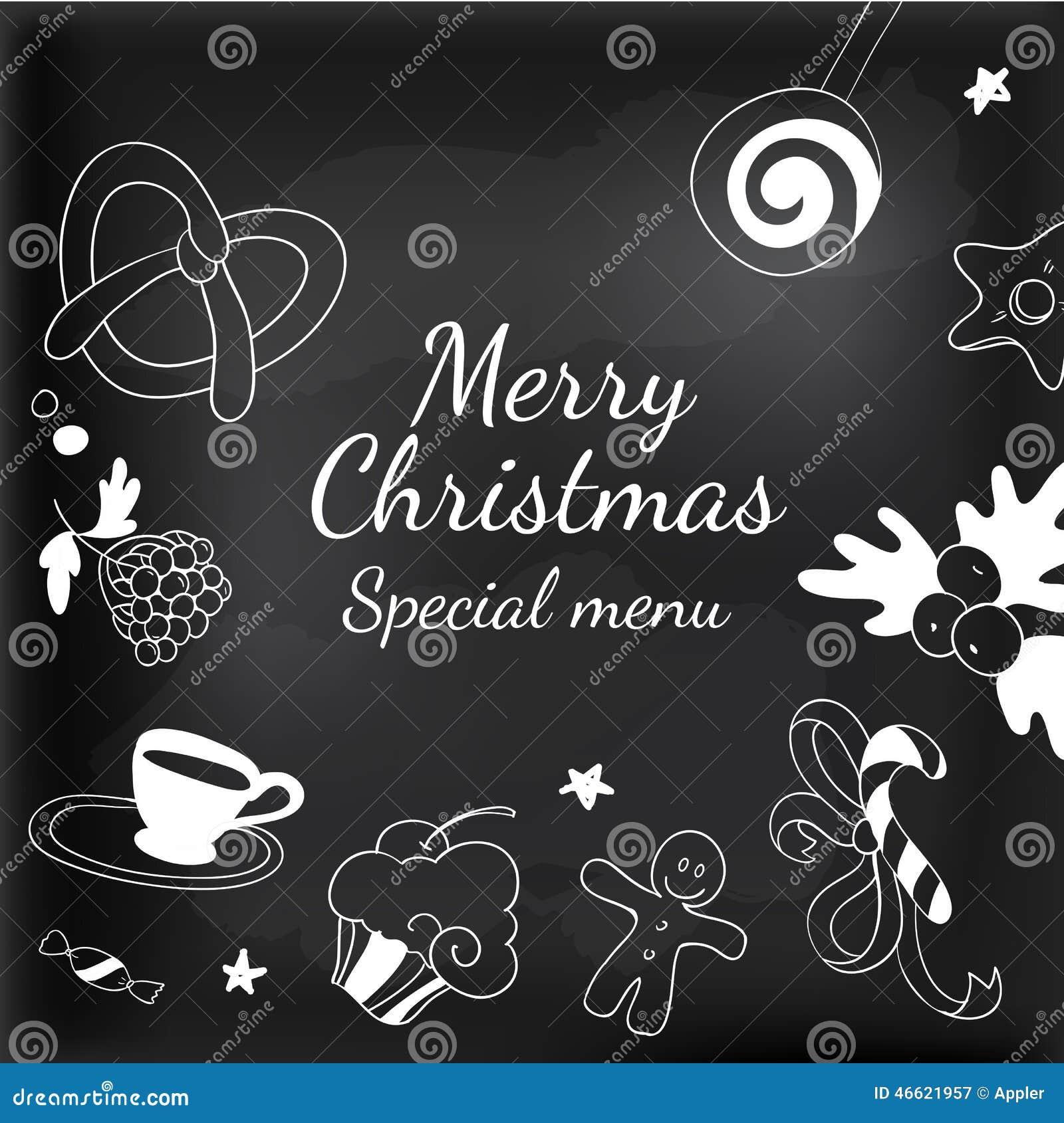 Dessin De Menu Pour Noel.Cadre D Elements De Dessin Pour Le Tableau Noir De Noel