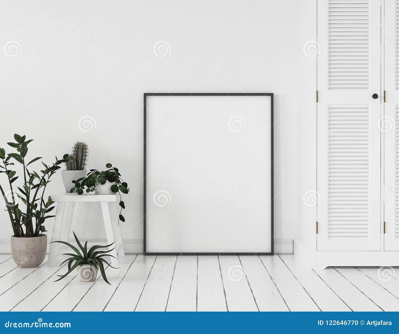Cadre d affiche de maquette avec les usines et le placard tenant le mur proche, style scandinave