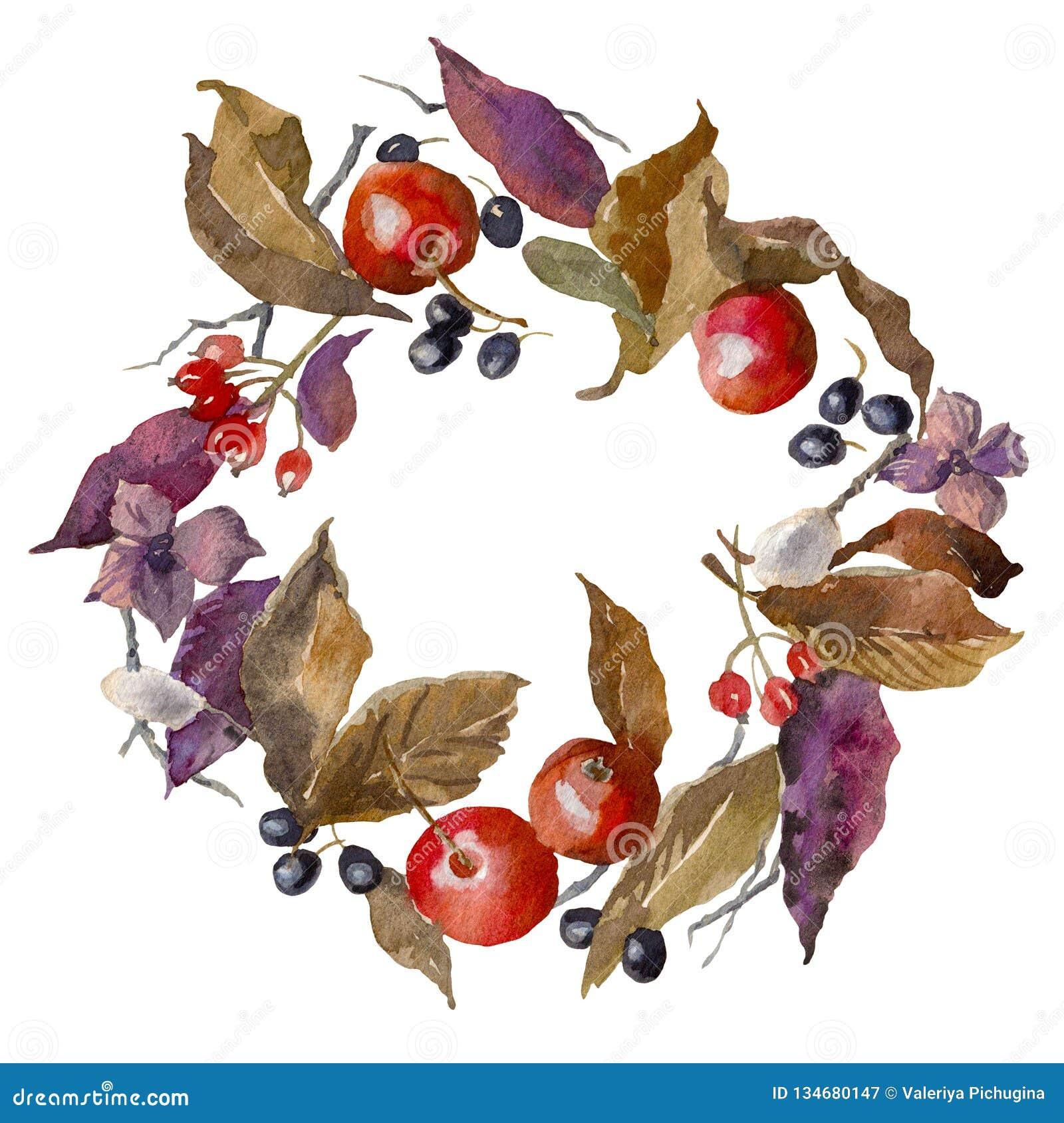 Cadre d automne d aquarelle Fond Guirlande faite de feuilles, pommes et baies tirées par la main La texture sans fin peut être em