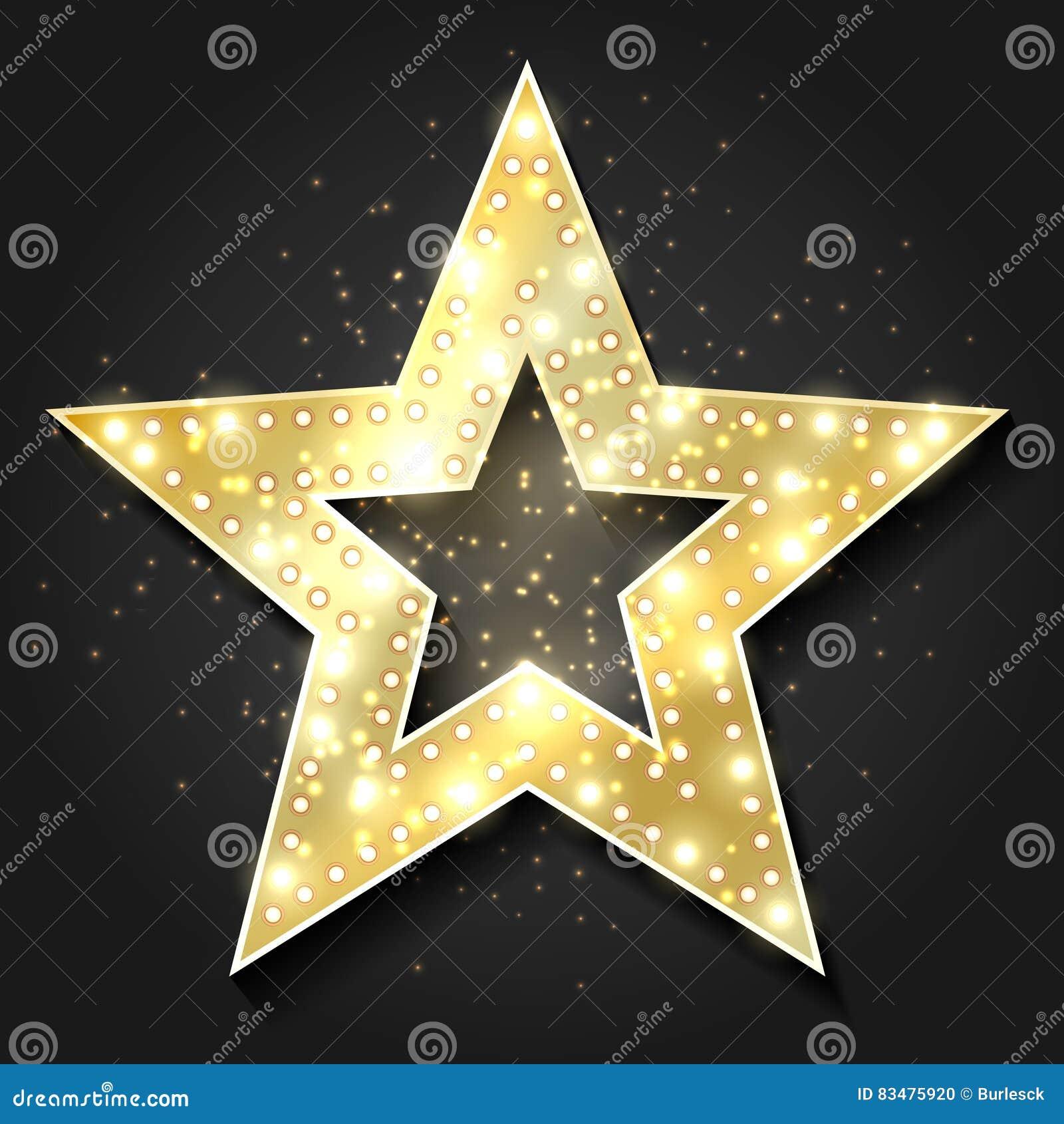 Cadre 3d de forme d étoiles rétro avec des lumières Élément de conception de star de cinéma de hollywood de vecteur