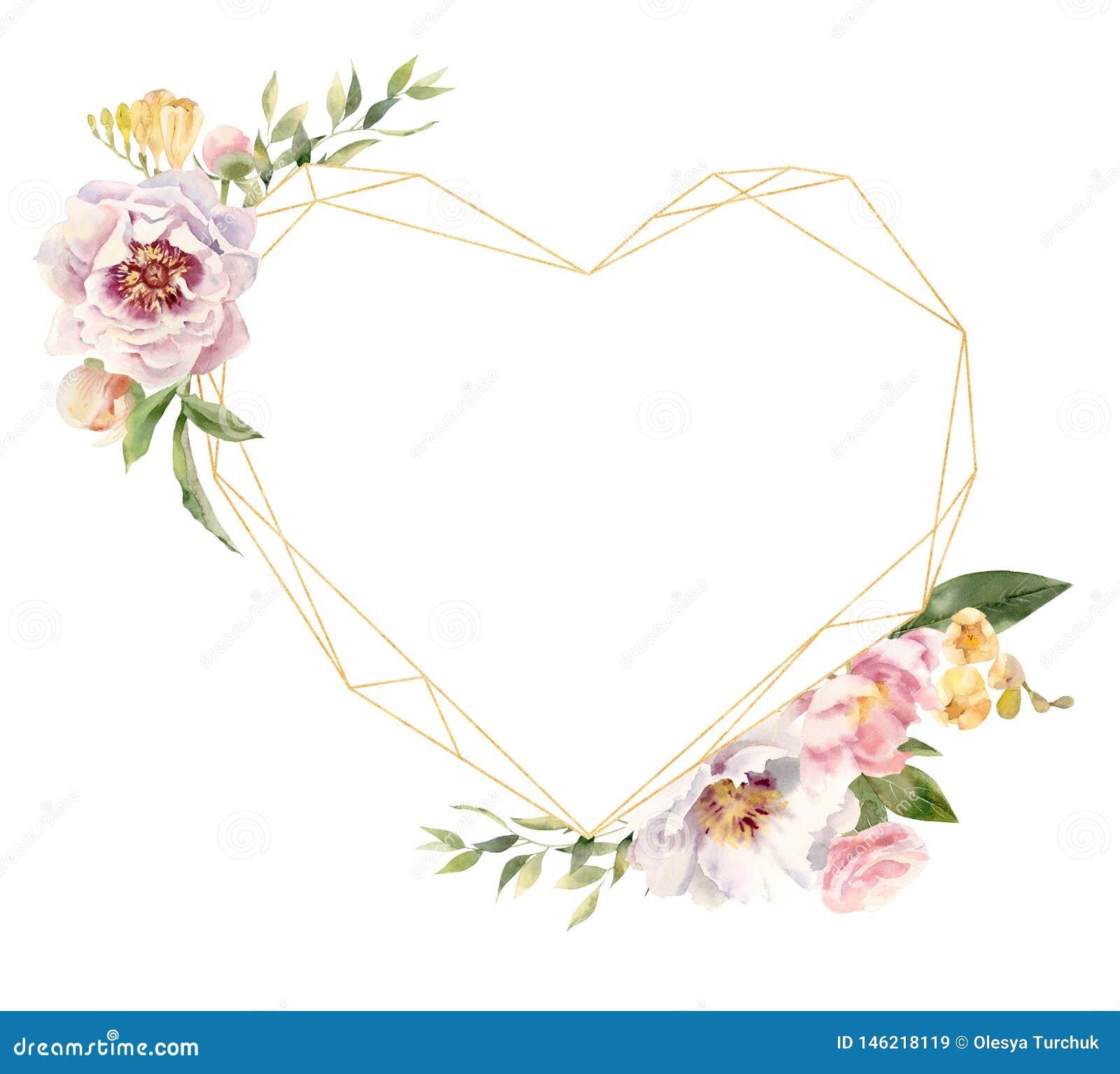 Cadre d or en forme de coeur décoré des fleurs peintes à la main d aquarelle