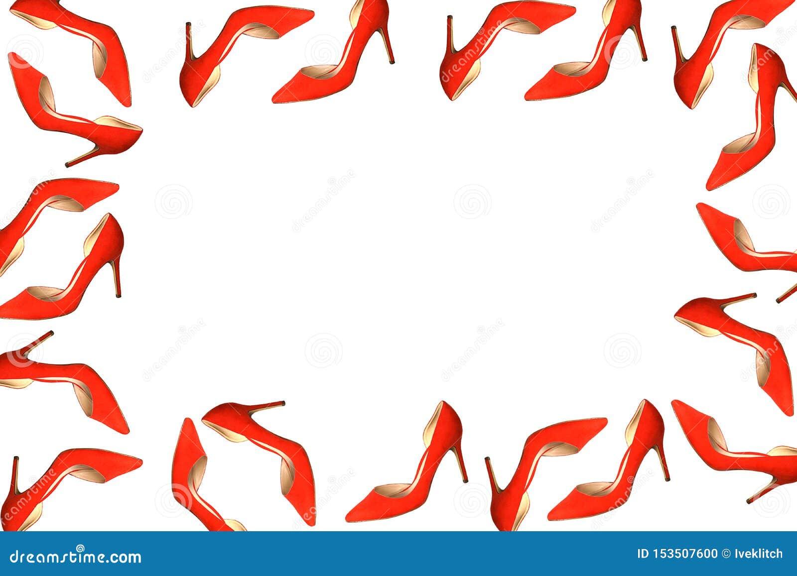 Cadre de beauté de modèle rouge femelle de chaussures sur le fond blanc, d isolement