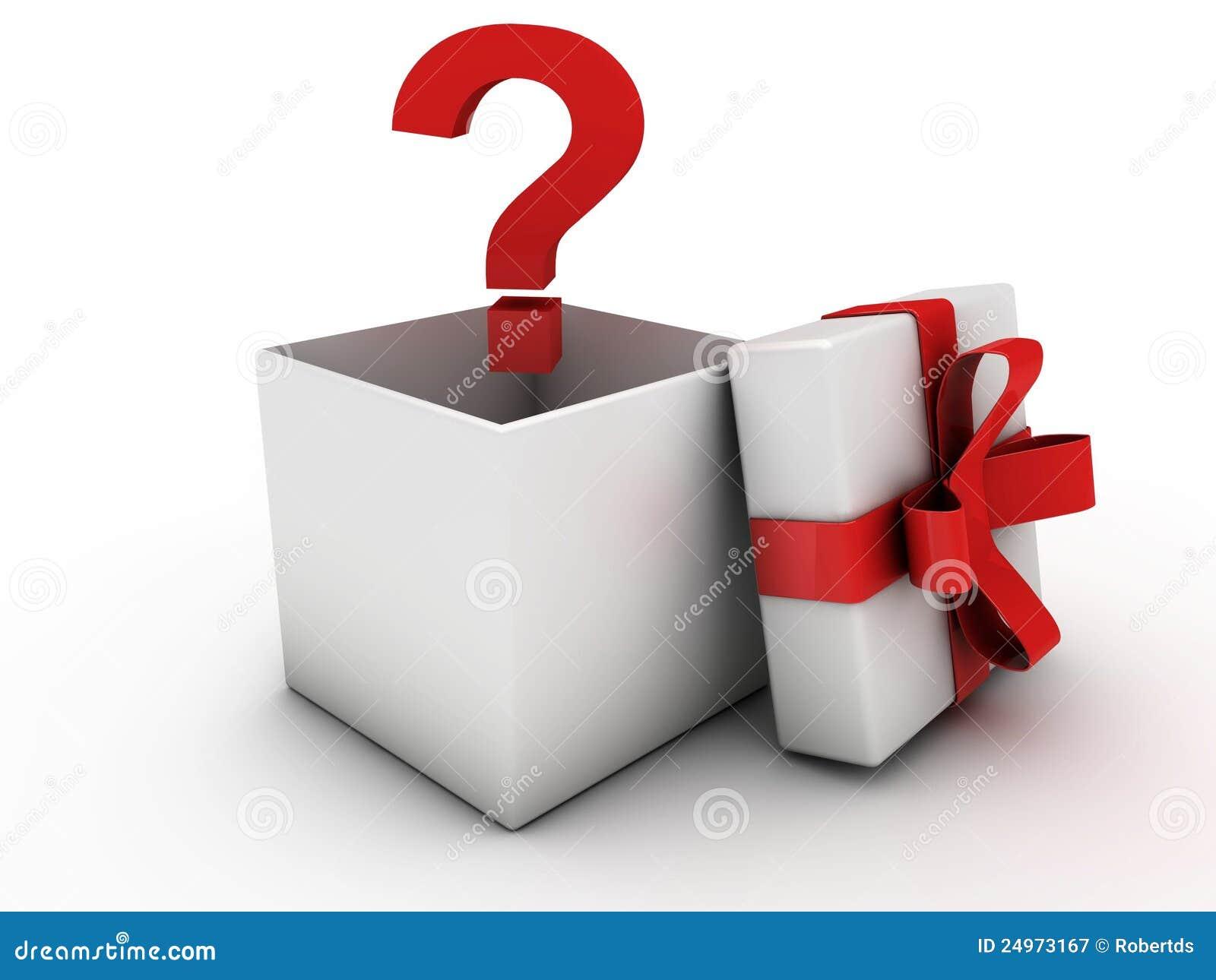 Célèbre Cadre De Cadeau Ouvert Avec Le Point D'interrogation Illustration  DM57