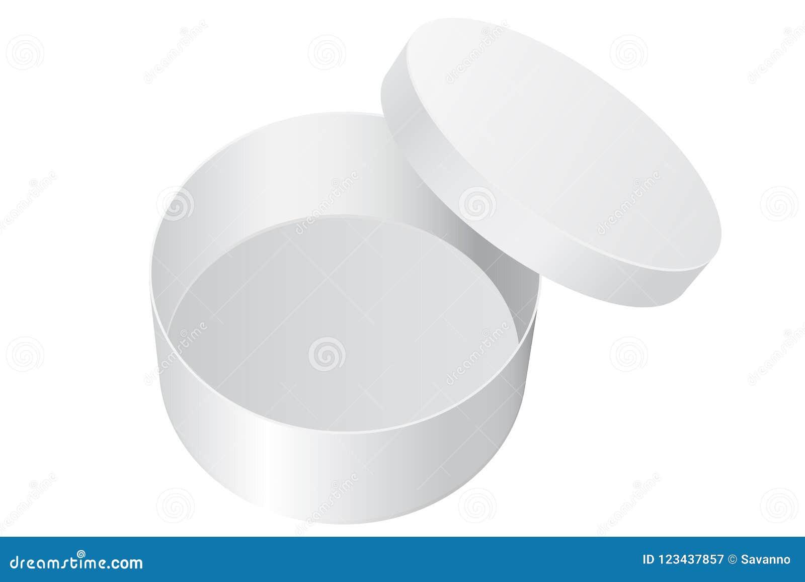 Cadre de cadeau rond Paquet ouvert de blanc blanc