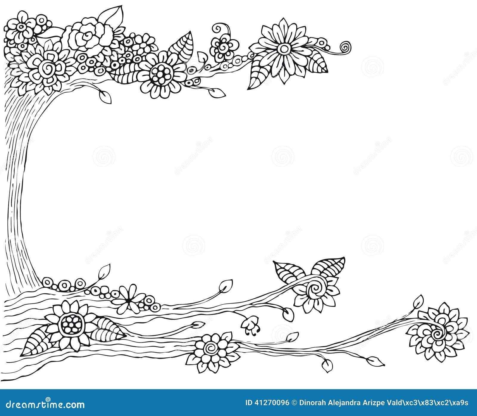 Cadre de dessin d 39 arbre illustration stock image 41270096 - Cadre avec photo noir et blanc ...