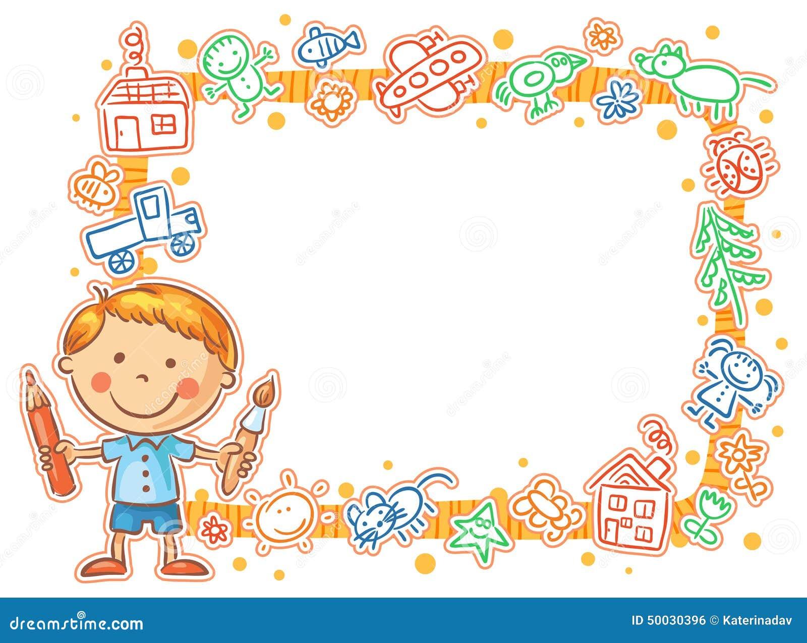 cadre de dessins de l 39 enfant avec le petit peintre illustration de vecteur illustration du. Black Bedroom Furniture Sets. Home Design Ideas