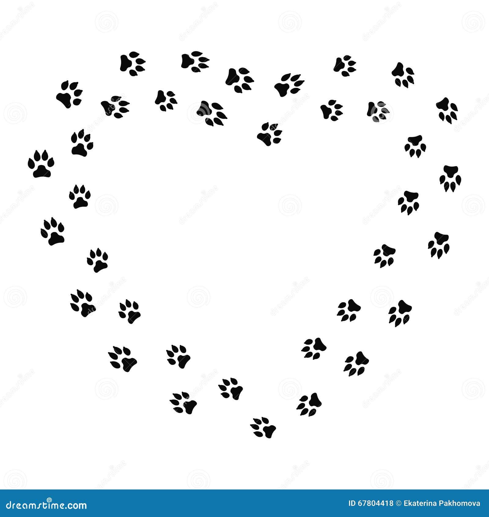 Cadre de forme de coeur avec la voie de chien noir d isolement sur le fond blanc