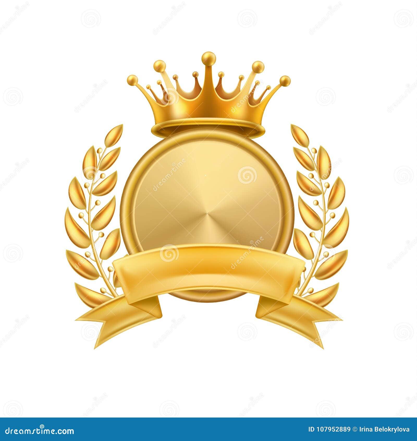Cadre de gagnant de guirlande de laurier de couronne d or d isolement