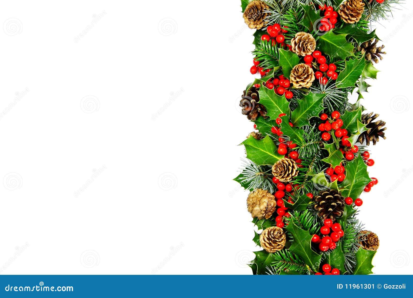 Cadre de houx de no l horizontal image stock image 11961301 - Decoration de noel avec du houx ...