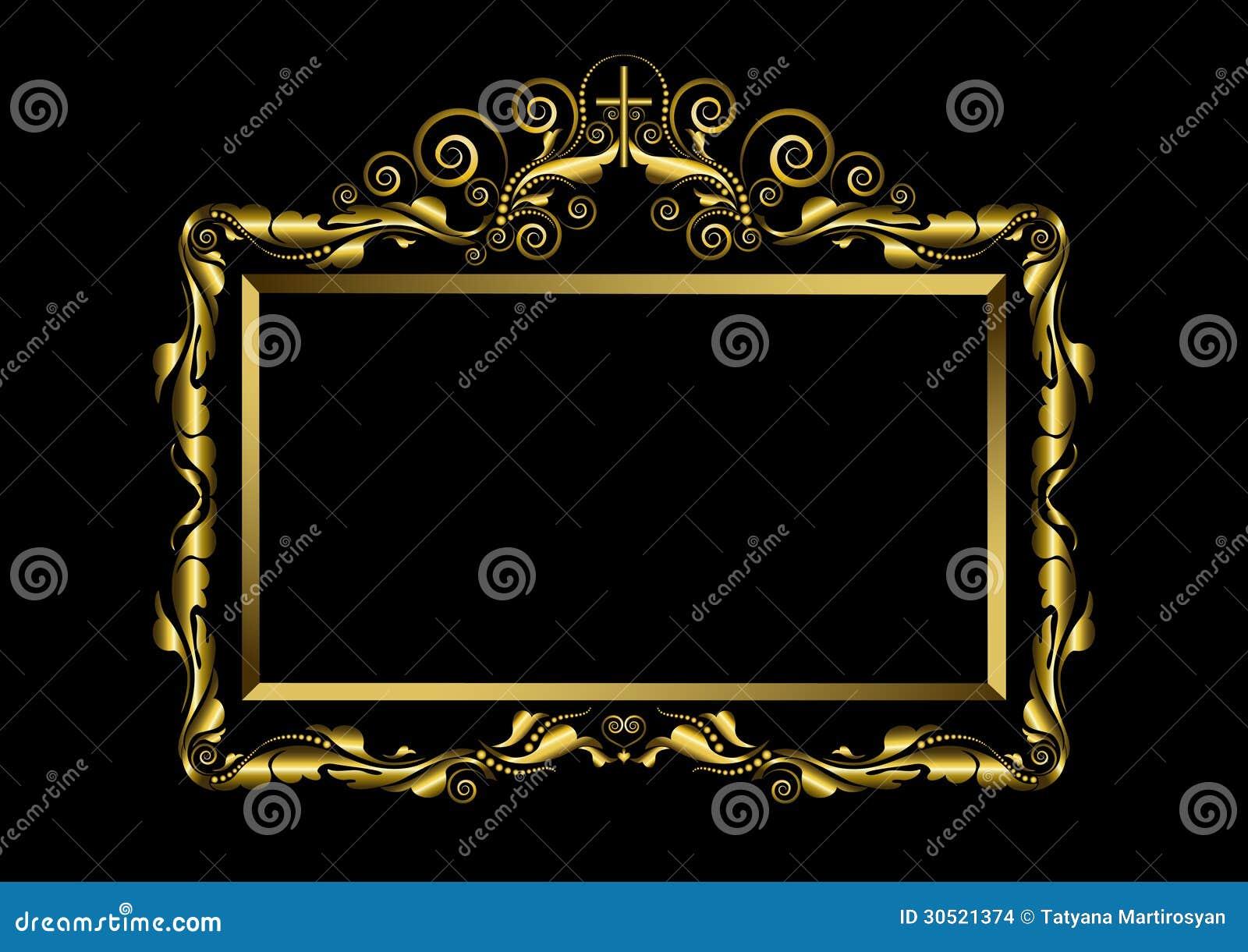 Cadre de luxe d 39 or sur le fond noir images stock image 30521374 Decoration noir or luxe classe