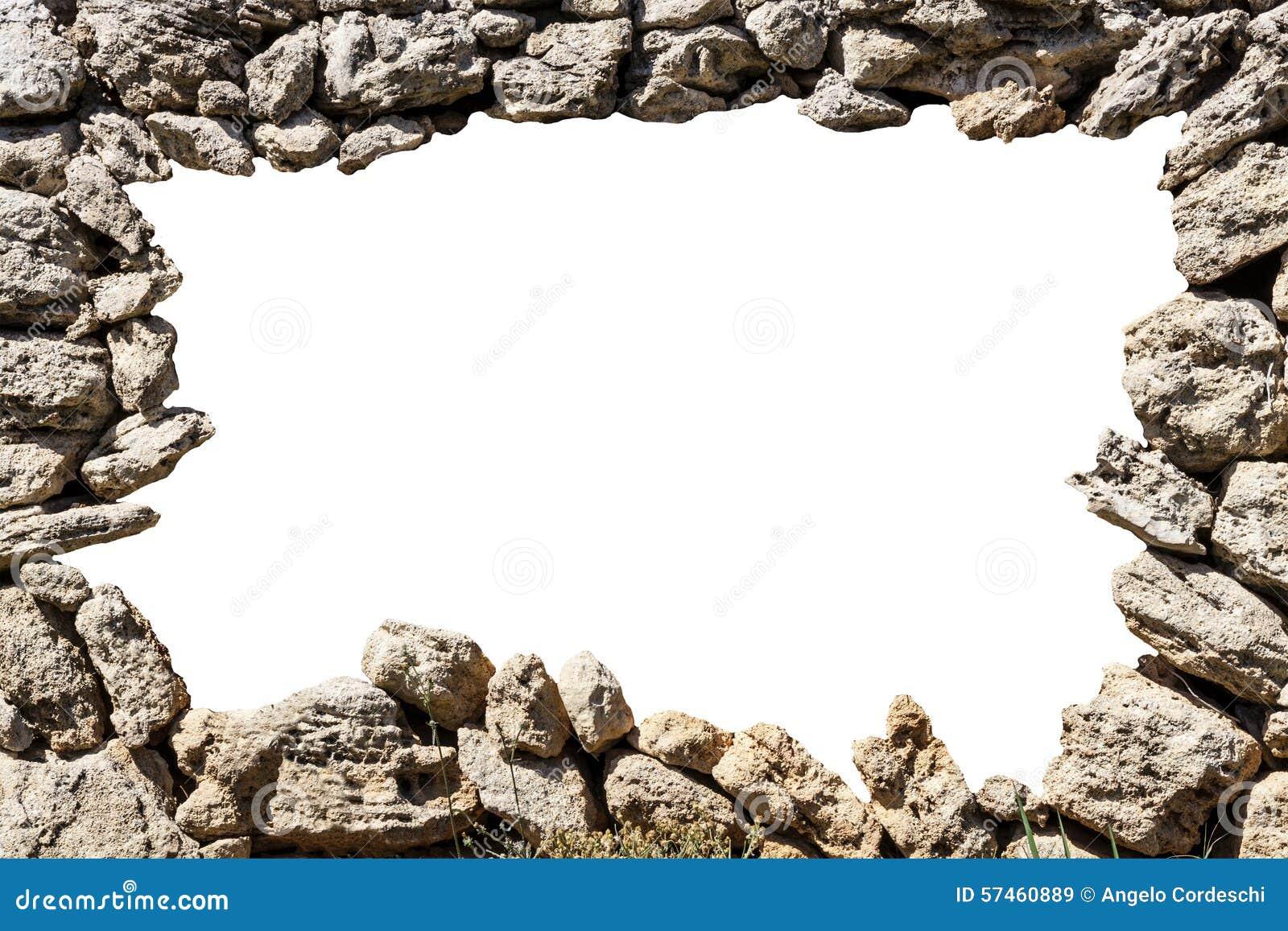 Cadre de mur en pierre avec le trou vide photo stock for Reboucher des trous dans le mur