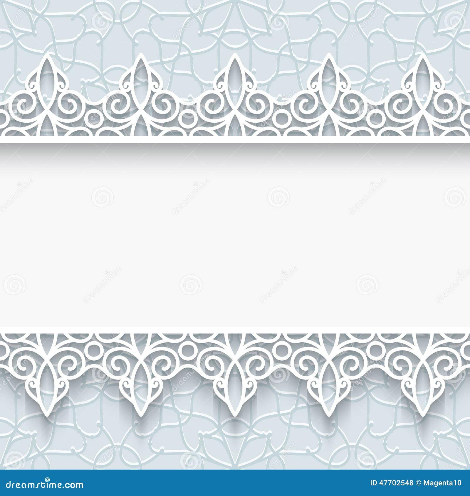 Cadre de papier avec des frontières de dentelle