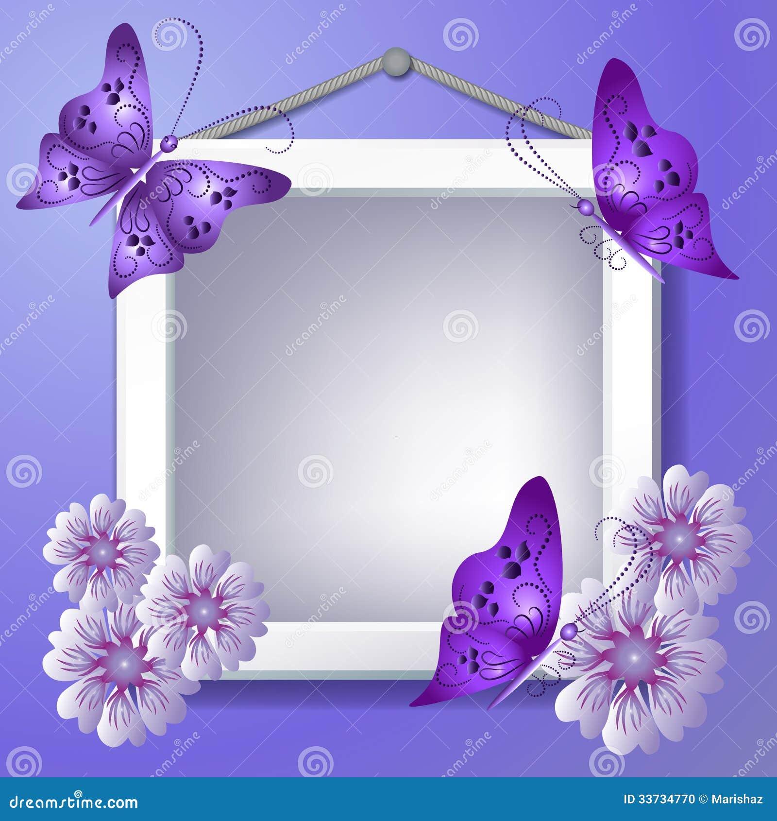 cadre de photo avec des fleurs et des papillons photo. Black Bedroom Furniture Sets. Home Design Ideas
