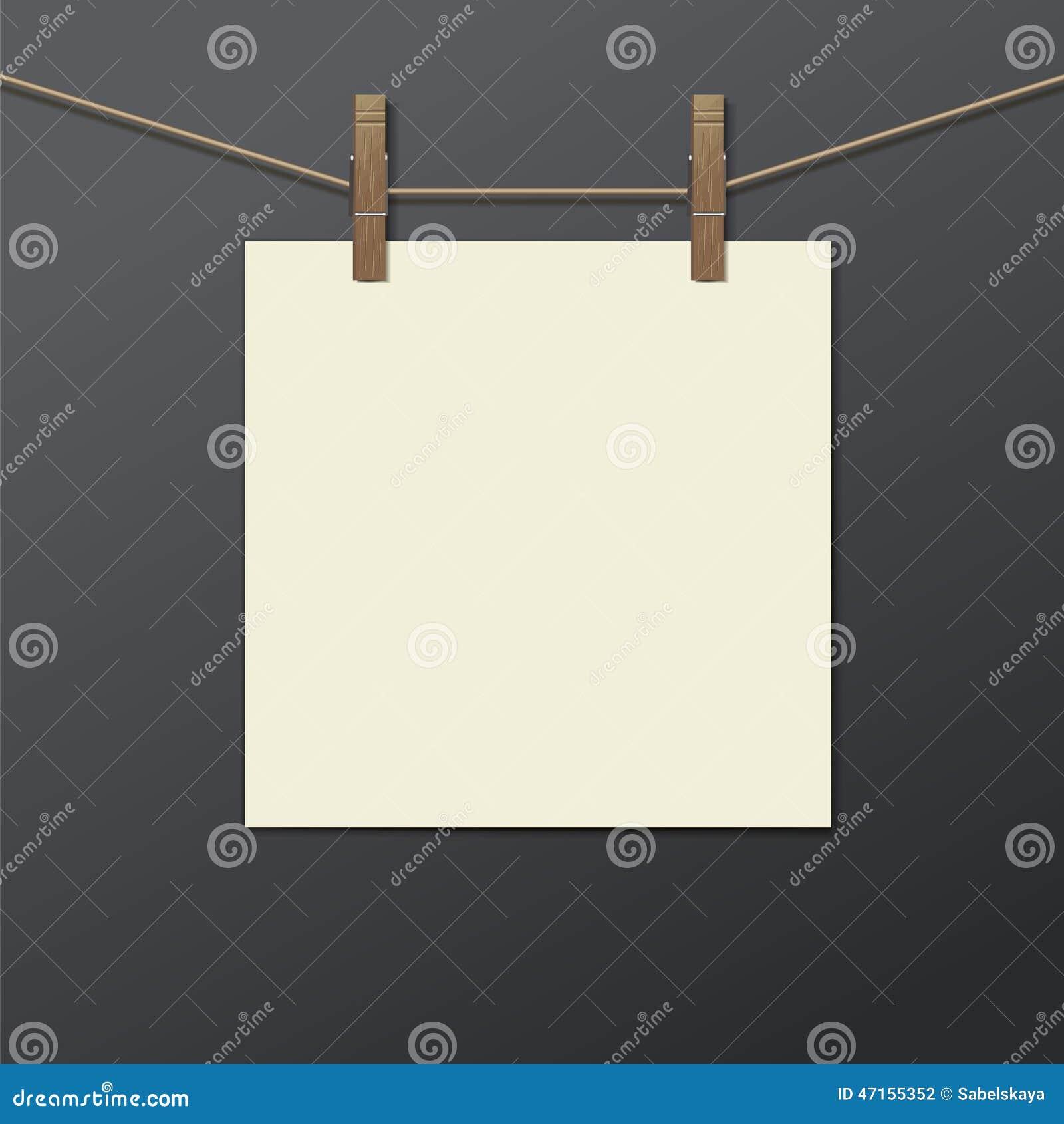 cadre de photo avec la pince linge d 39 isolement r aliste illustration de vecteur image 47155352. Black Bedroom Furniture Sets. Home Design Ideas