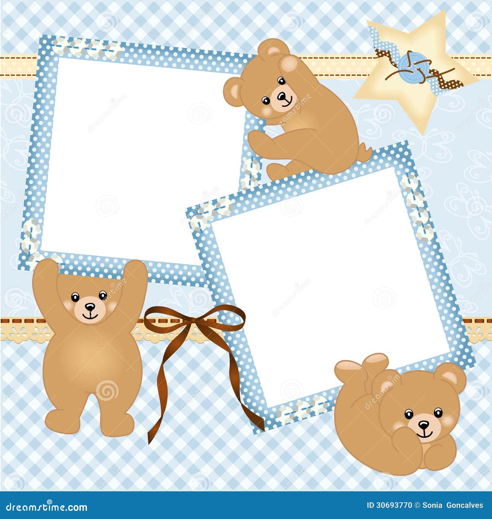 cadre de photo de b b gar on avec l 39 ours de nounours photo stock image 30693770. Black Bedroom Furniture Sets. Home Design Ideas