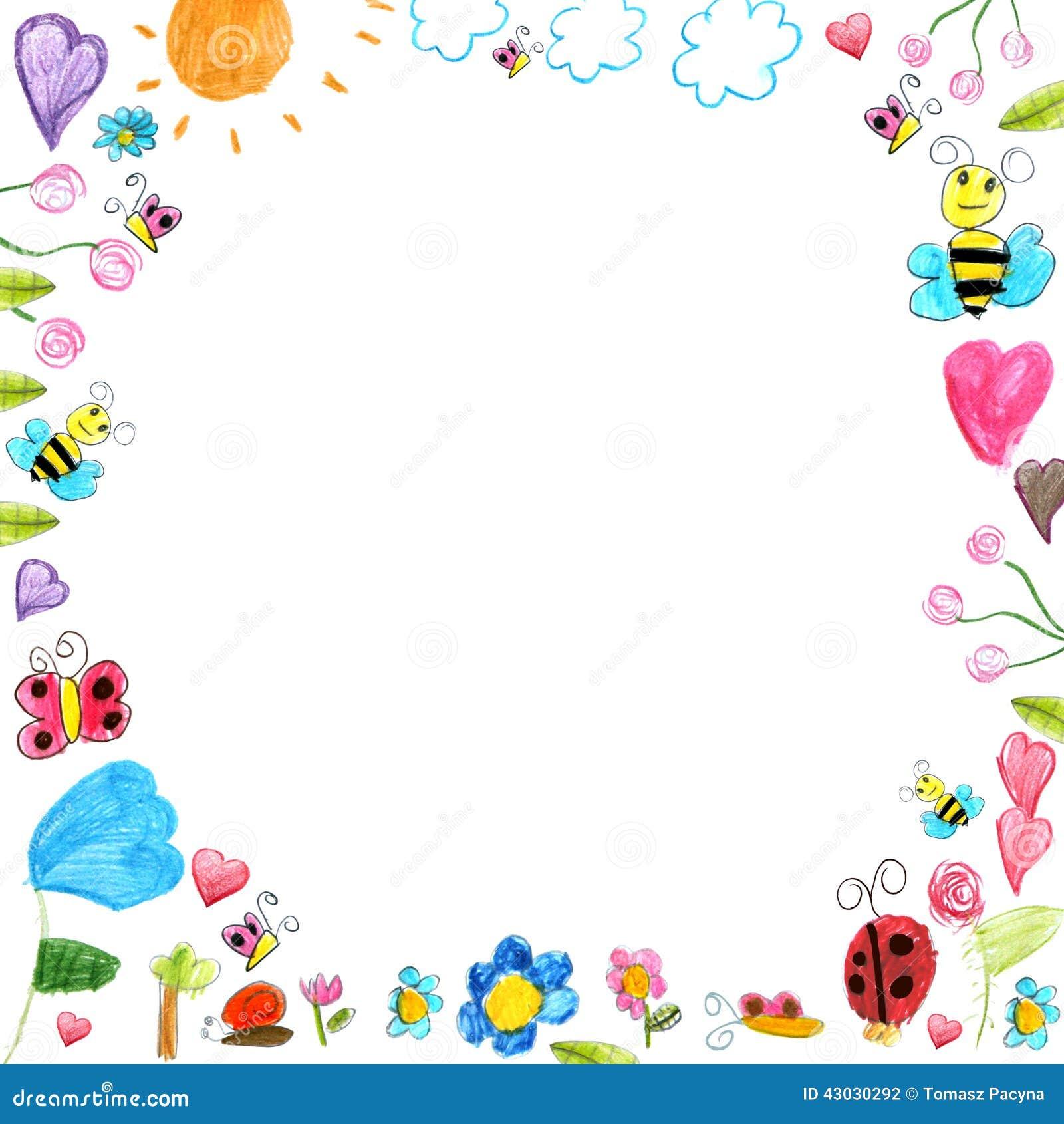 Cadre de pr l 39 enfant griffonne le fond de dessins d for Cadre photo enfant