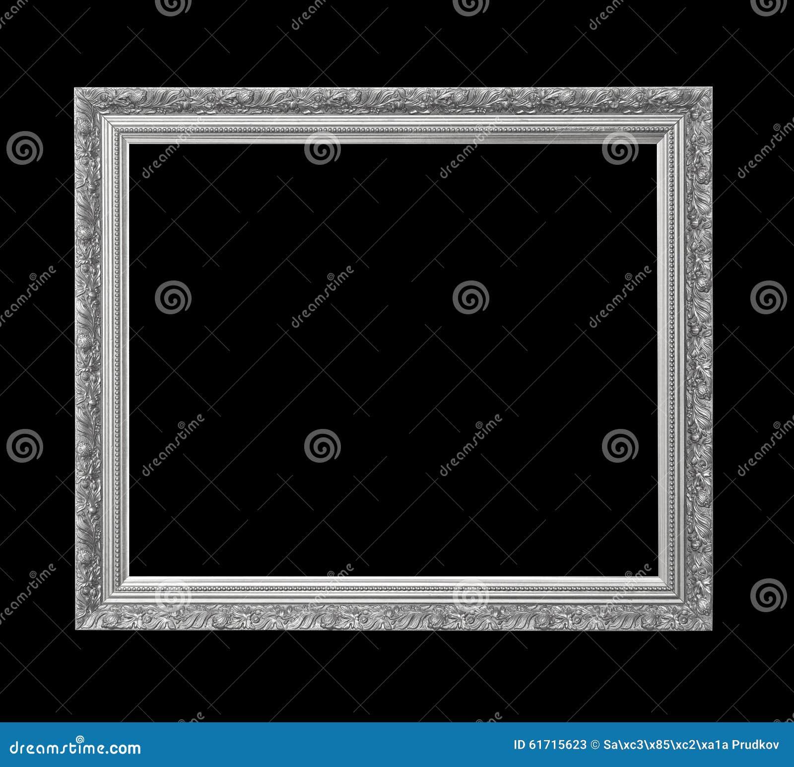 cadre de tableau antique argent pour la peinture l 39 huile d 39 isolement sur le noir photo stock. Black Bedroom Furniture Sets. Home Design Ideas