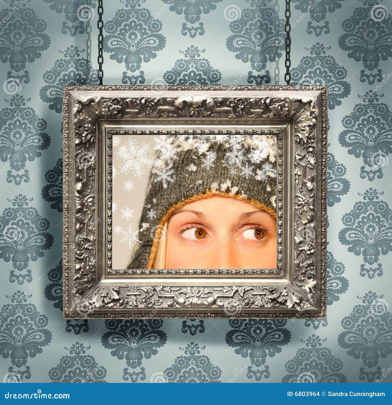 cadre de tableau argent contre le papier peint floral images stock image 6803964. Black Bedroom Furniture Sets. Home Design Ideas