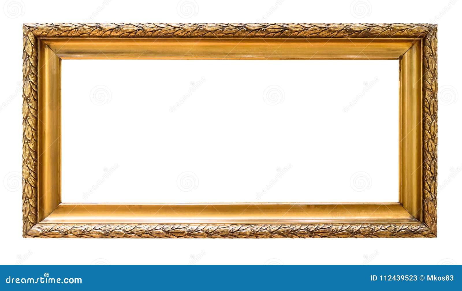 Cadre de tableau décoratif d or rectangulaire d isolement sur le blanc