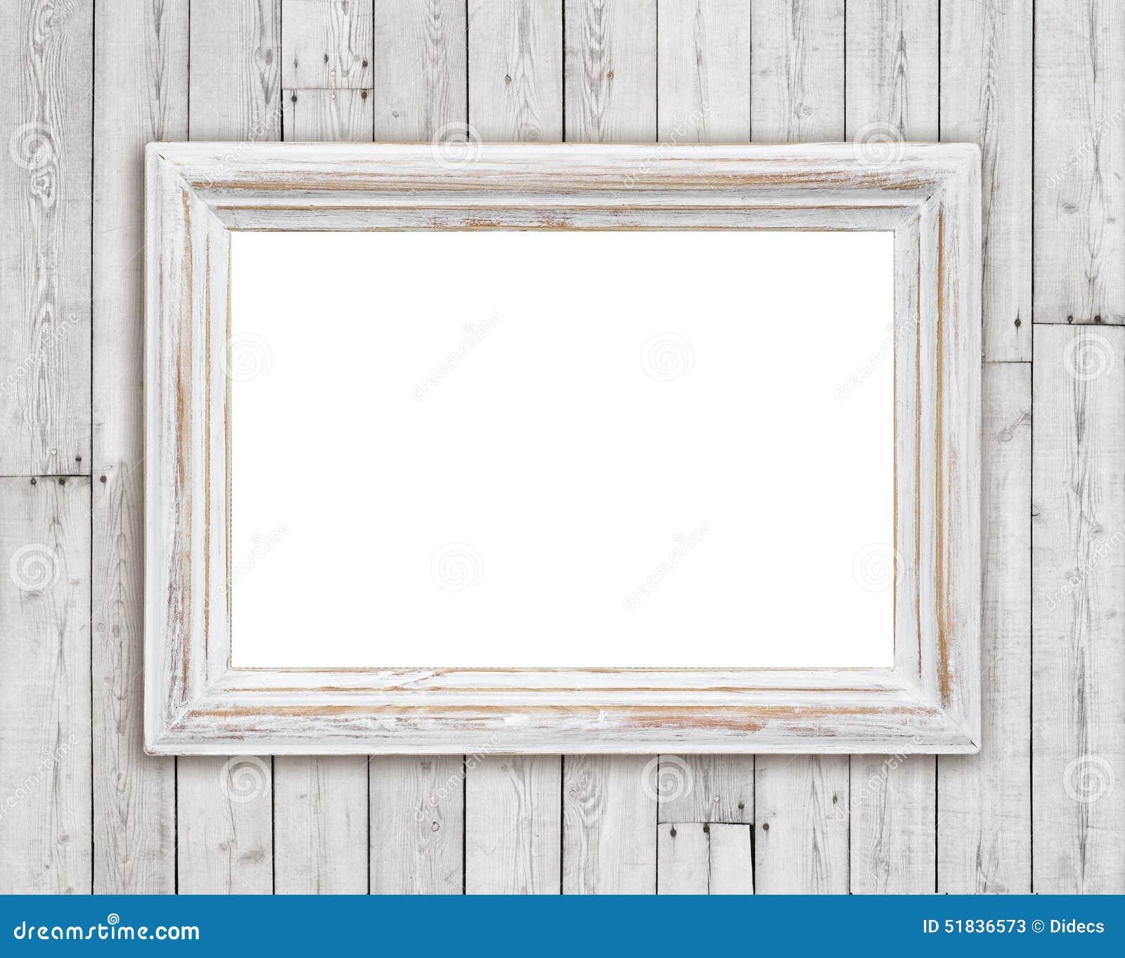 cadre de tableau en bois blanchi sur le fond de mur de planche de vintage image stock image du. Black Bedroom Furniture Sets. Home Design Ideas
