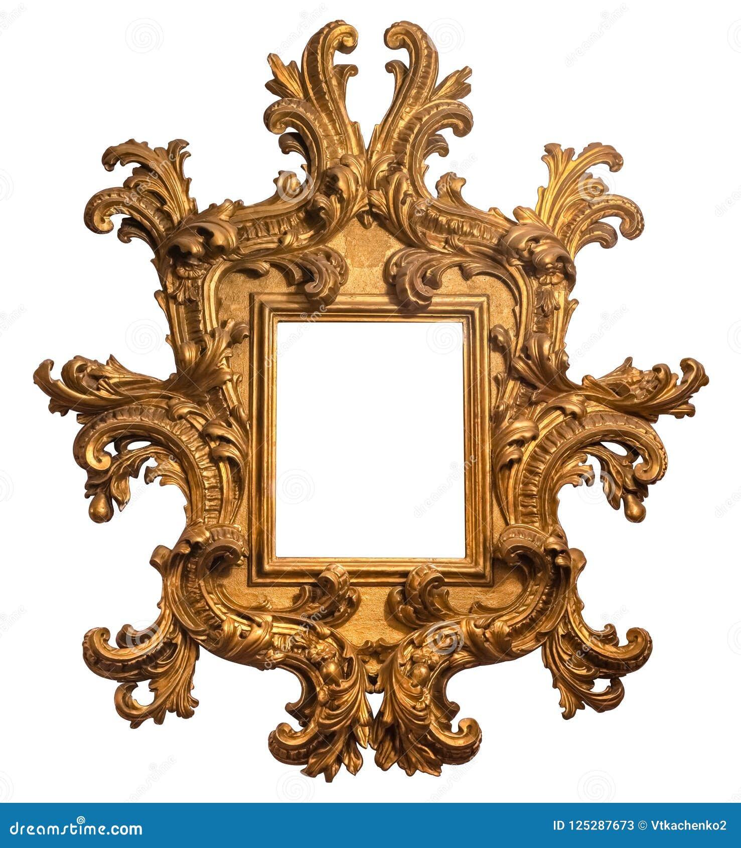 Cadre de tableau en bois plaqué par or baroque avec le chemin