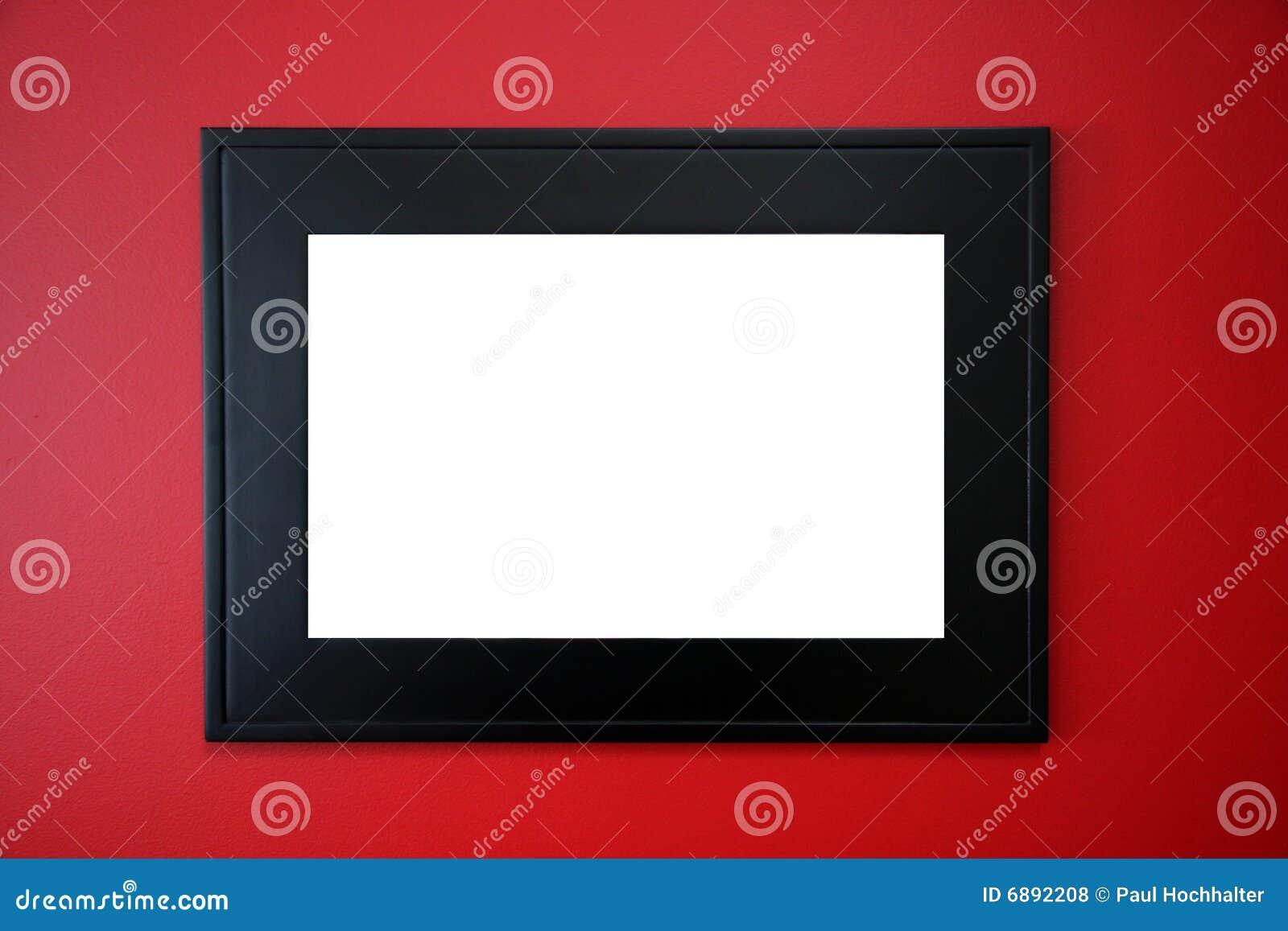 Cadre de tableau noir sur le mur rouge photos libres de for Tableau sur mur blanc