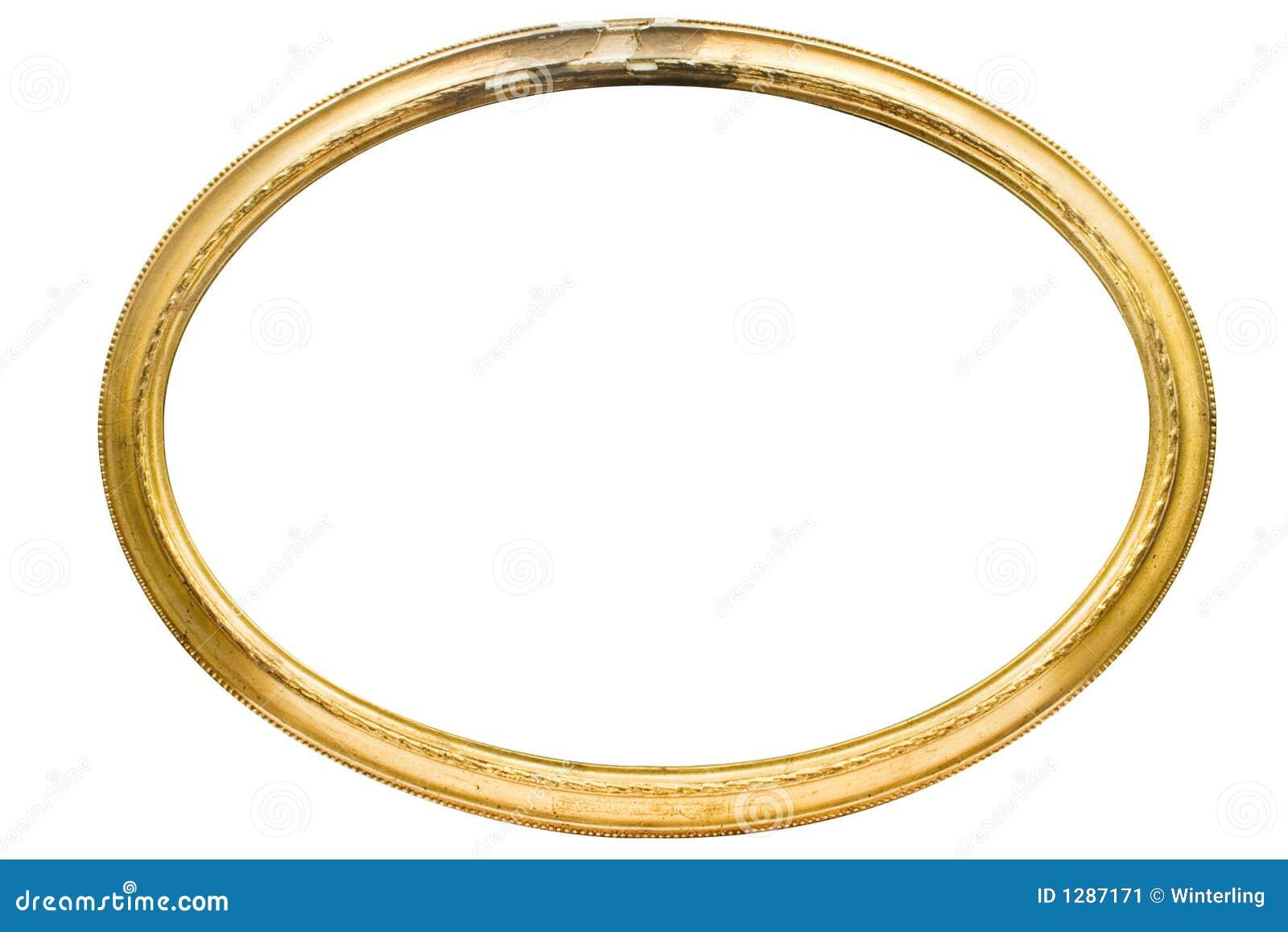Cadre de tableau ovale endommagé avec le chemin