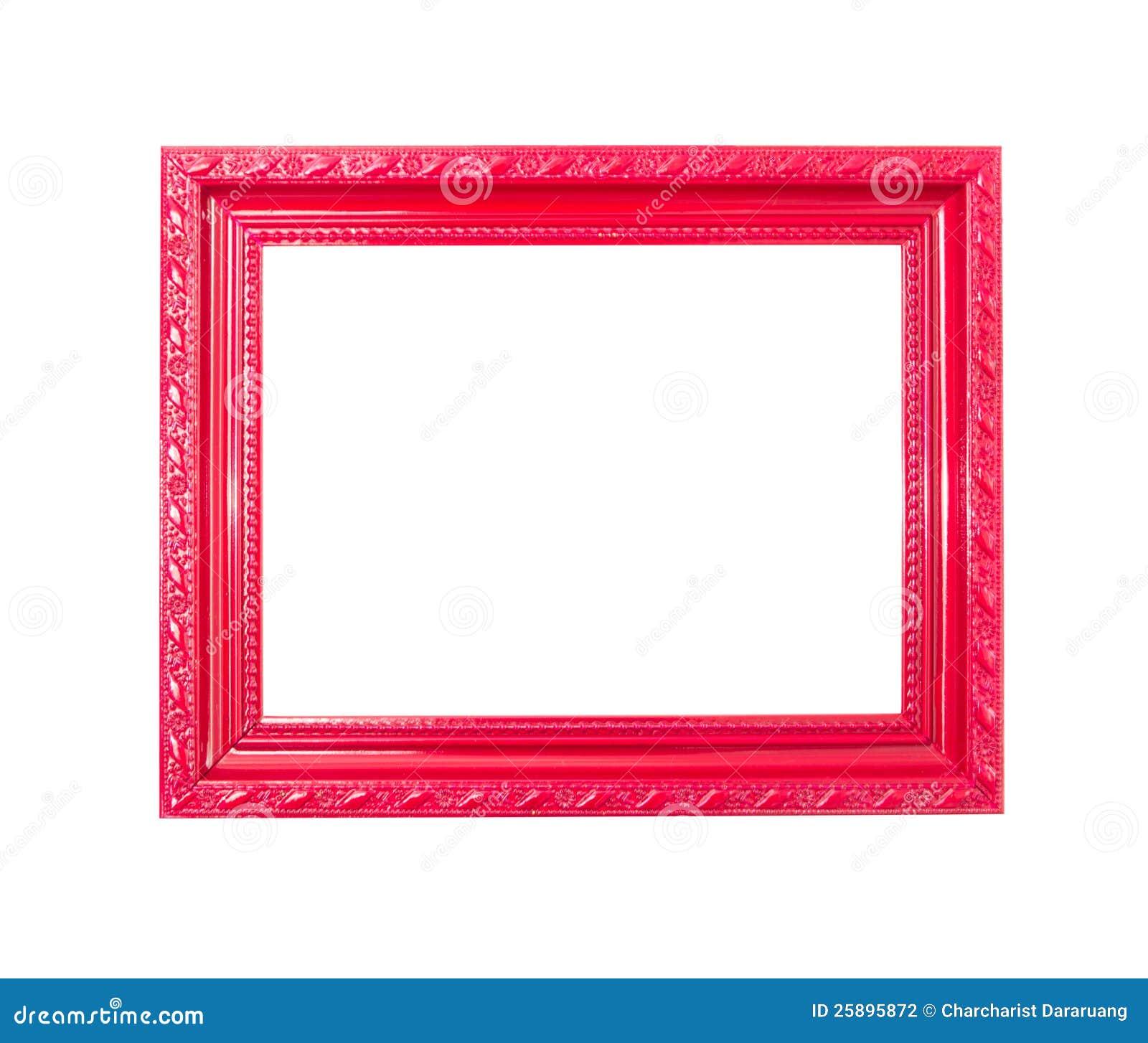 Cadre de tableau rouge de cru sur le fond blanc - Image de cadre de tableau ...