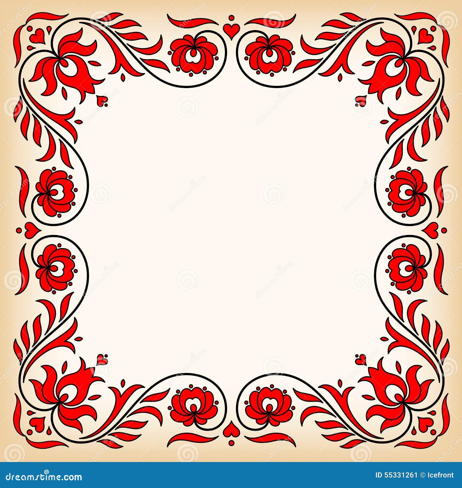 Cadre de vintage avec des motifs floraux hongrois traditionnels