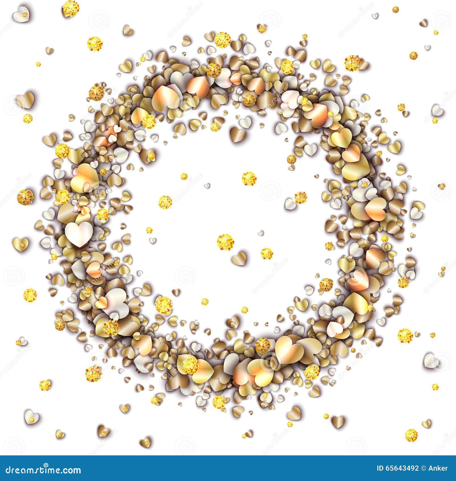 Cadre de vintage avec les coeurs d or