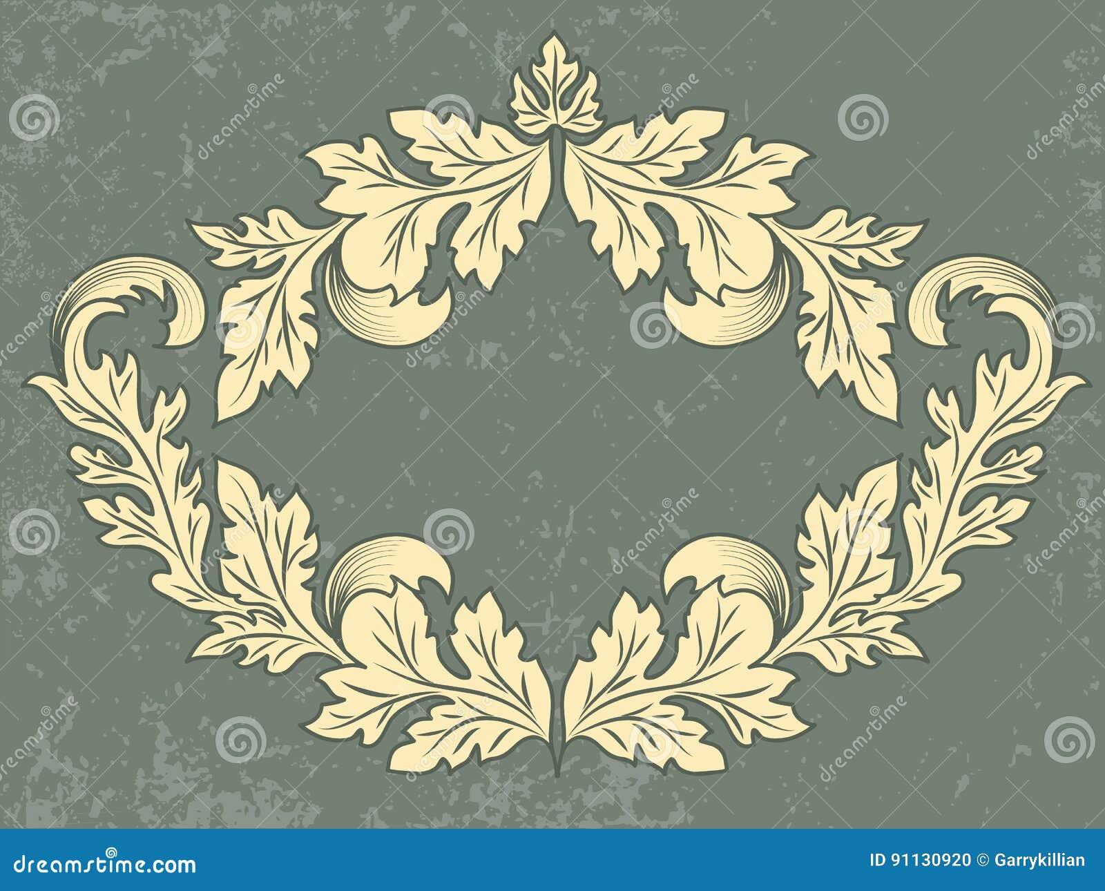 Cadre de vintage de vecteur avec le fond grunge Carte d invitation et d annonce de mariage avec les éléments floraux
