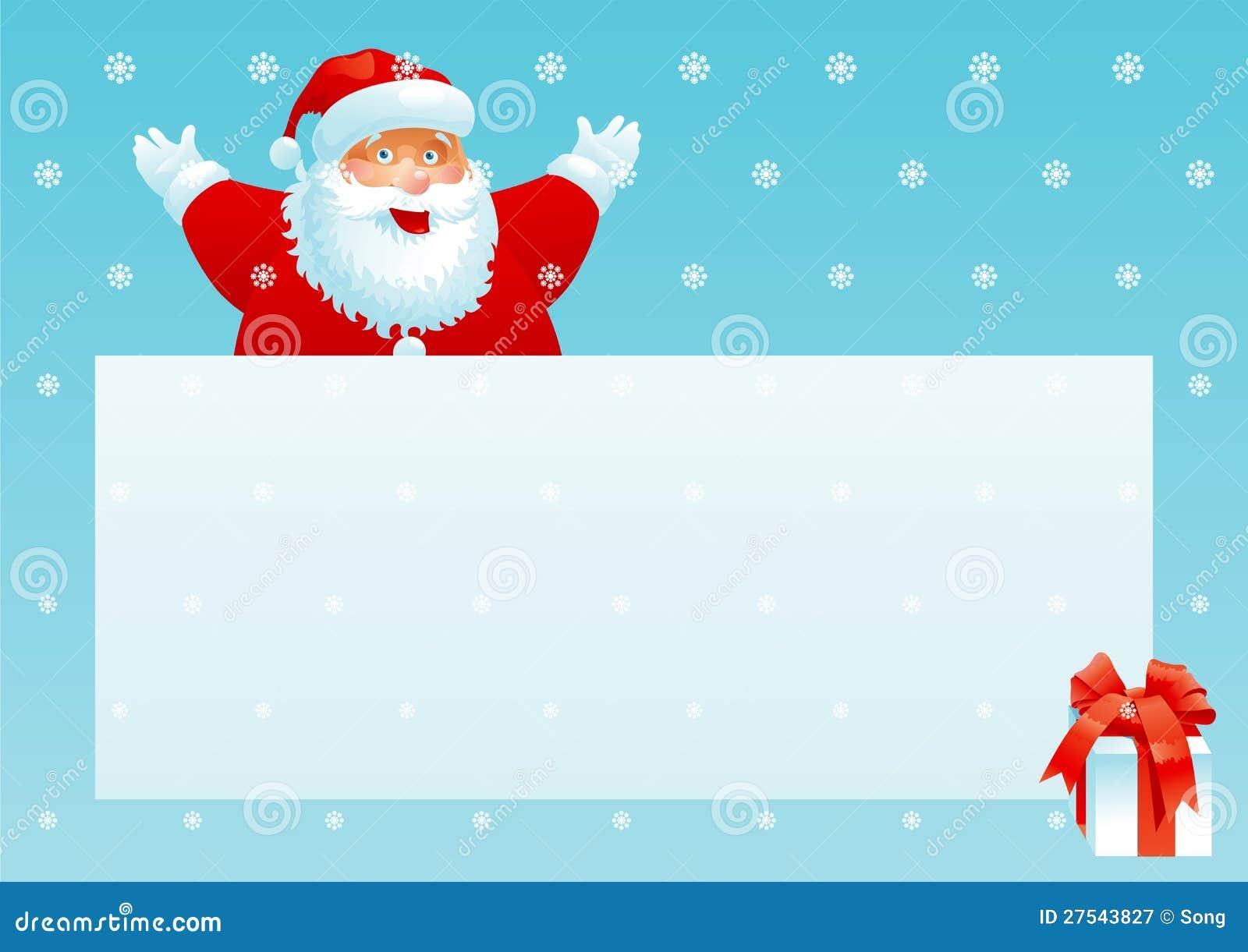Boîte De Cadeau Le Jour De Noël Clip Art: Cadre Du Père Noël Et De Cadeau Avec La Lettre De Noël