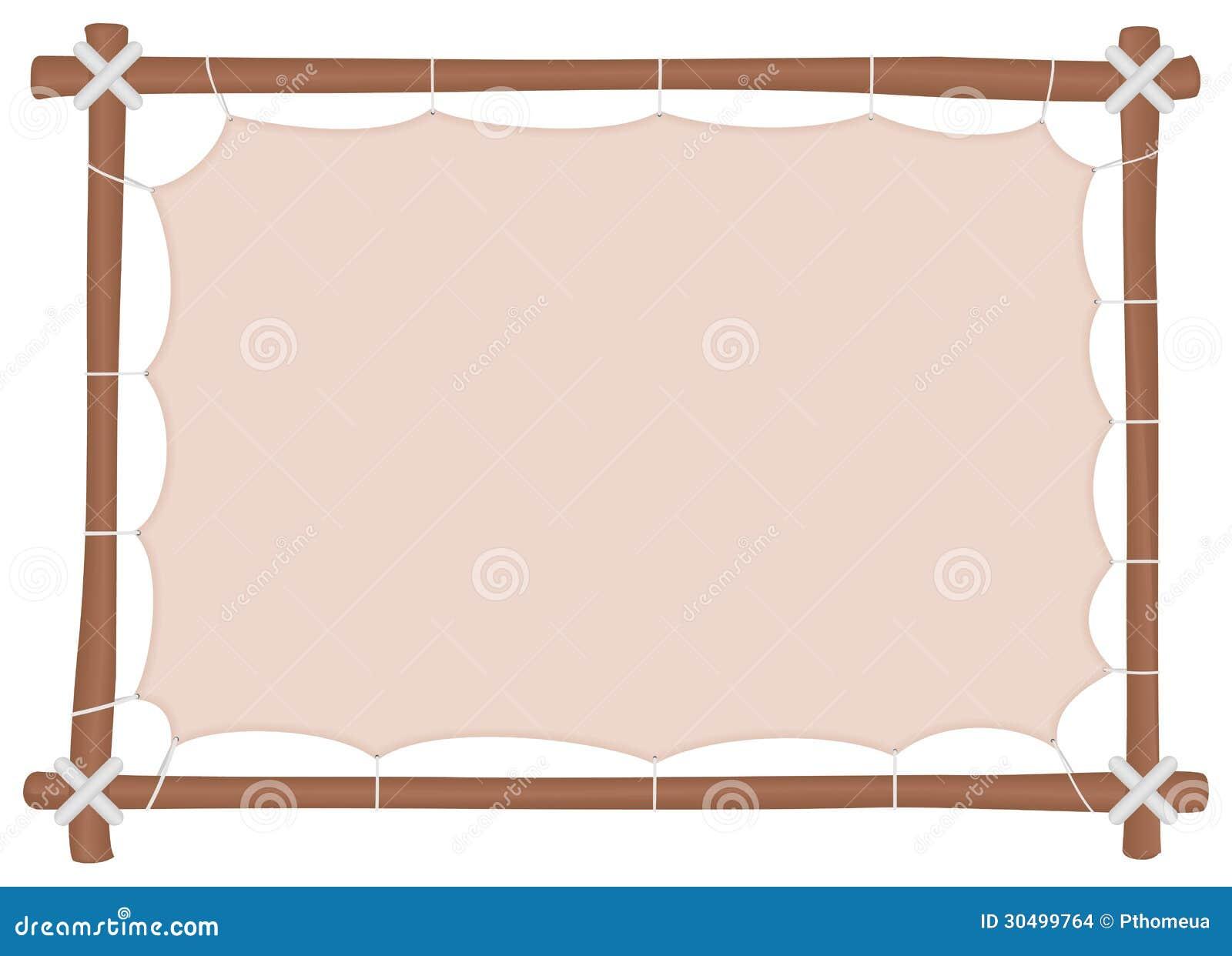 cadre en bois avec une toile tir e et un endroit pour mettre le texte images stock image. Black Bedroom Furniture Sets. Home Design Ideas