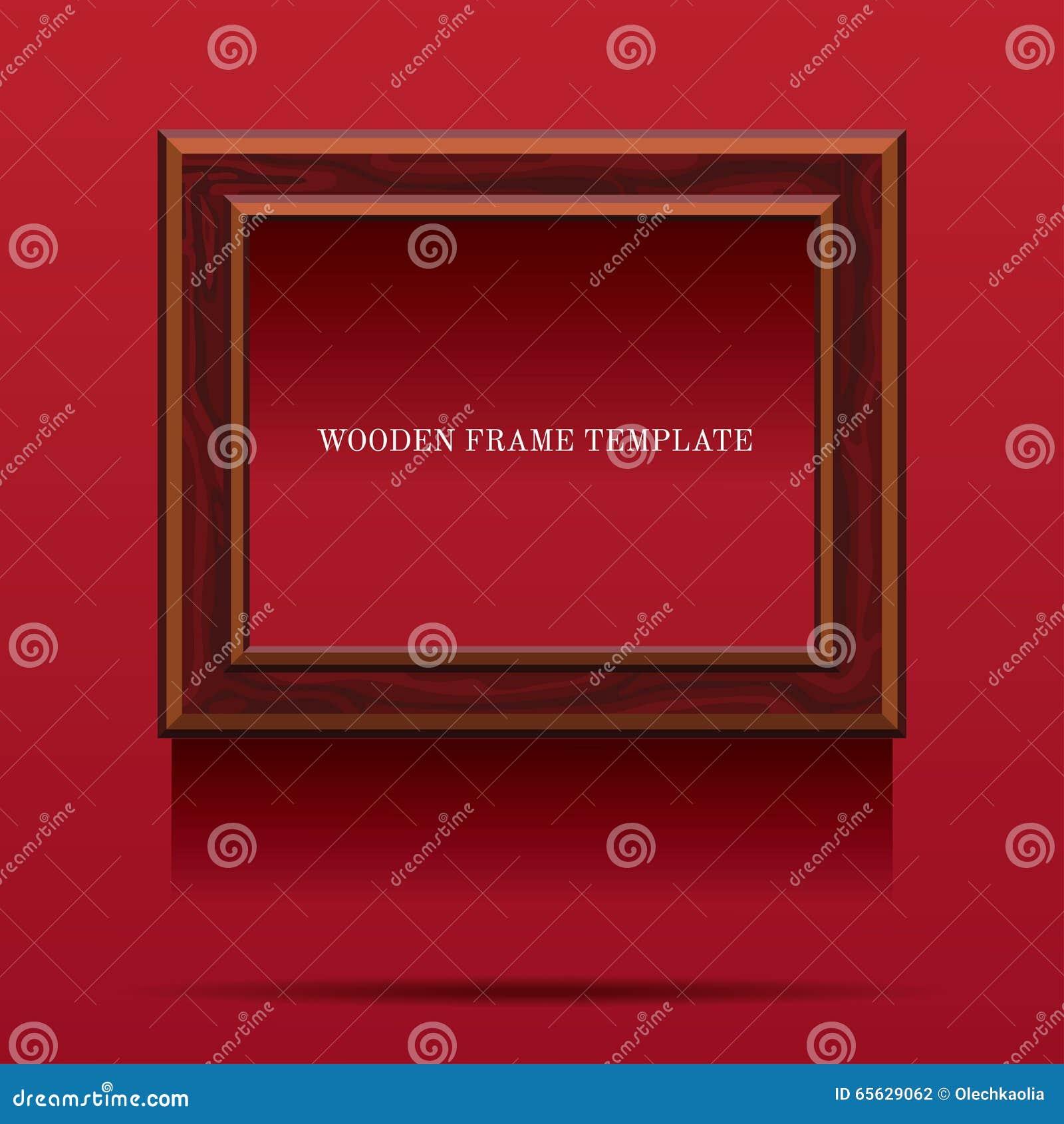 Cadre en bois de Brown sur le fond rouge
