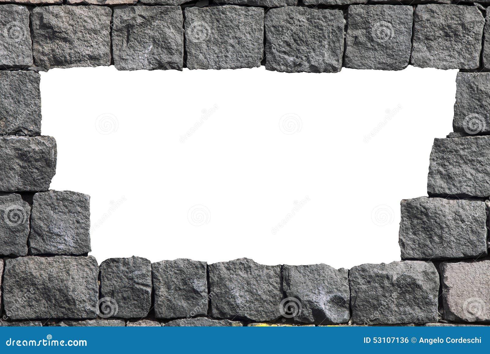 Cadre En Pierre De Mur De Lave Avec Le Trou Vide Photo
