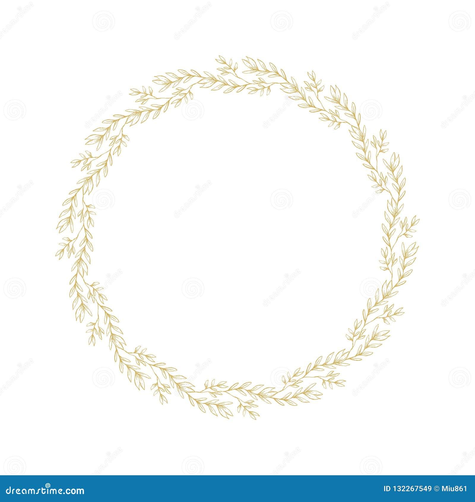Cadre fait de fleurs d isolement sur le blanc Guirlande florale esquissée d or sensible Belles brindilles d or tirées par la main
