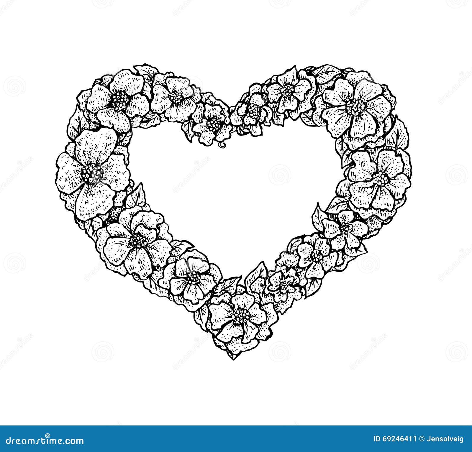 Cadre floral de style noir et blanc de vintage dans une forme d 39 un coeur illustration de vecteur - Photos noir et blanc vintage ...