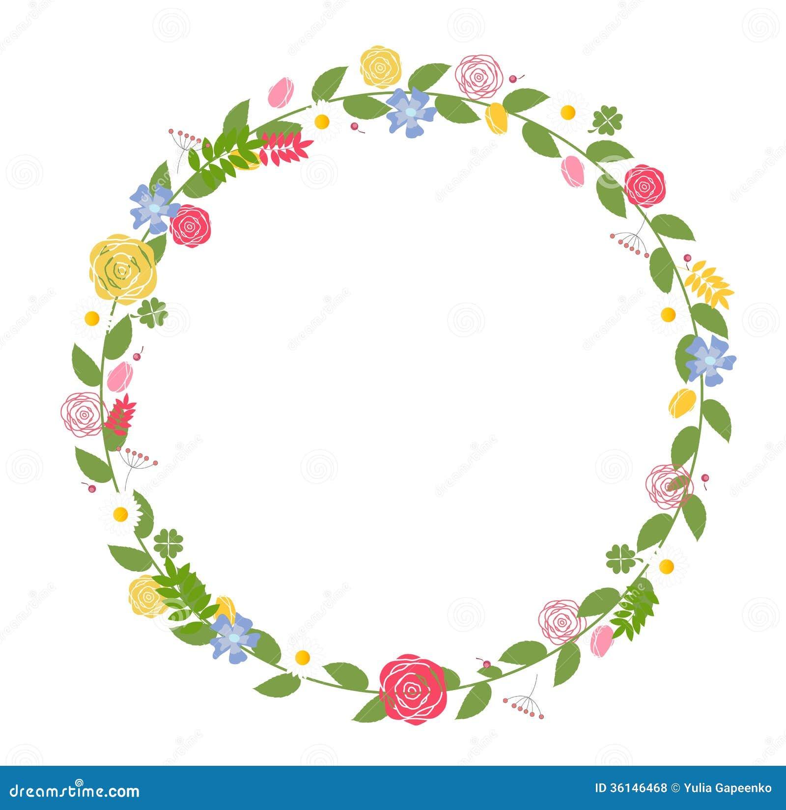 Cadre Floral Pour 233 Pouser Et Carte D Anniversaire Vecteur