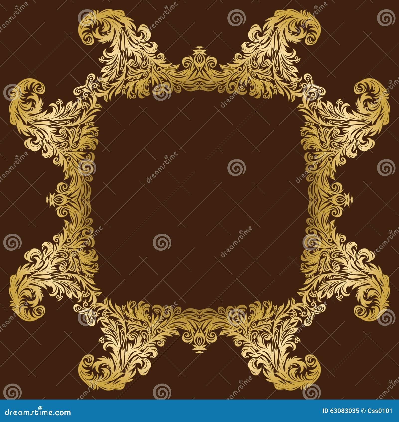 Download Cadre Floral Royal Fleuri D'or De Vintage De Vecteur Illustration de Vecteur - Illustration du laurier, noël: 63083035